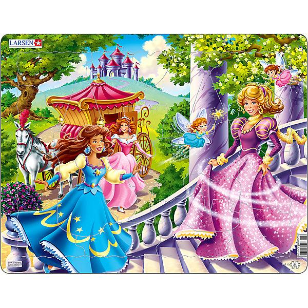 Пазл Принцессы,  Larsen, 24 деталиПазлы для малышей<br>Пазл Принцессы,  Larsen, 24 детали – это хороший и добрый подарок для маленькой поклонницы сказочных принцесс.<br>На пазле Принцессы изображены сказочные принцессы в сопровождении фей, которые спешат поскорее попасть на сказочный бал. Изготовлен пазл из плотного трехслойного картона, имеет специальную подложку и рамку, которые облегчают процесс сборки. Принцип сборки пазла заключается в использовании принципа совместимости изображений и контуров пазла. Если малыш не сможет совместить детали пазла по рисунку, он сделает это по контуру пазла, вставив его в подложку как вкладыш. Высокое качество материала и печати не допускают износа, расслаивания, деформации деталей и стирания рисунка. Многообразие форм и разные размеры деталей пазла развивают мелкую моторику пальцев. Занятия по сборке пазла развивают образное и логическое мышление, пространственное воображение, память, внимание, усидчивость, координацию движений.<br><br>Дополнительная информация:<br><br>- Количество элементов: 24 детали<br>- Материал: плотный трехслойный картон<br>- Размер пазла: 36,5 x 28,5 см.<br><br>Пазл Принцессы,  Larsen (Ларсен), 24 детали можно купить в нашем интернет-магазине.<br>Ширина мм: 370; Глубина мм: 286; Высота мм: 10; Вес г: 322; Возраст от месяцев: 36; Возраст до месяцев: 60; Пол: Женский; Возраст: Детский; Количество деталей: 24; SKU: 3610581;