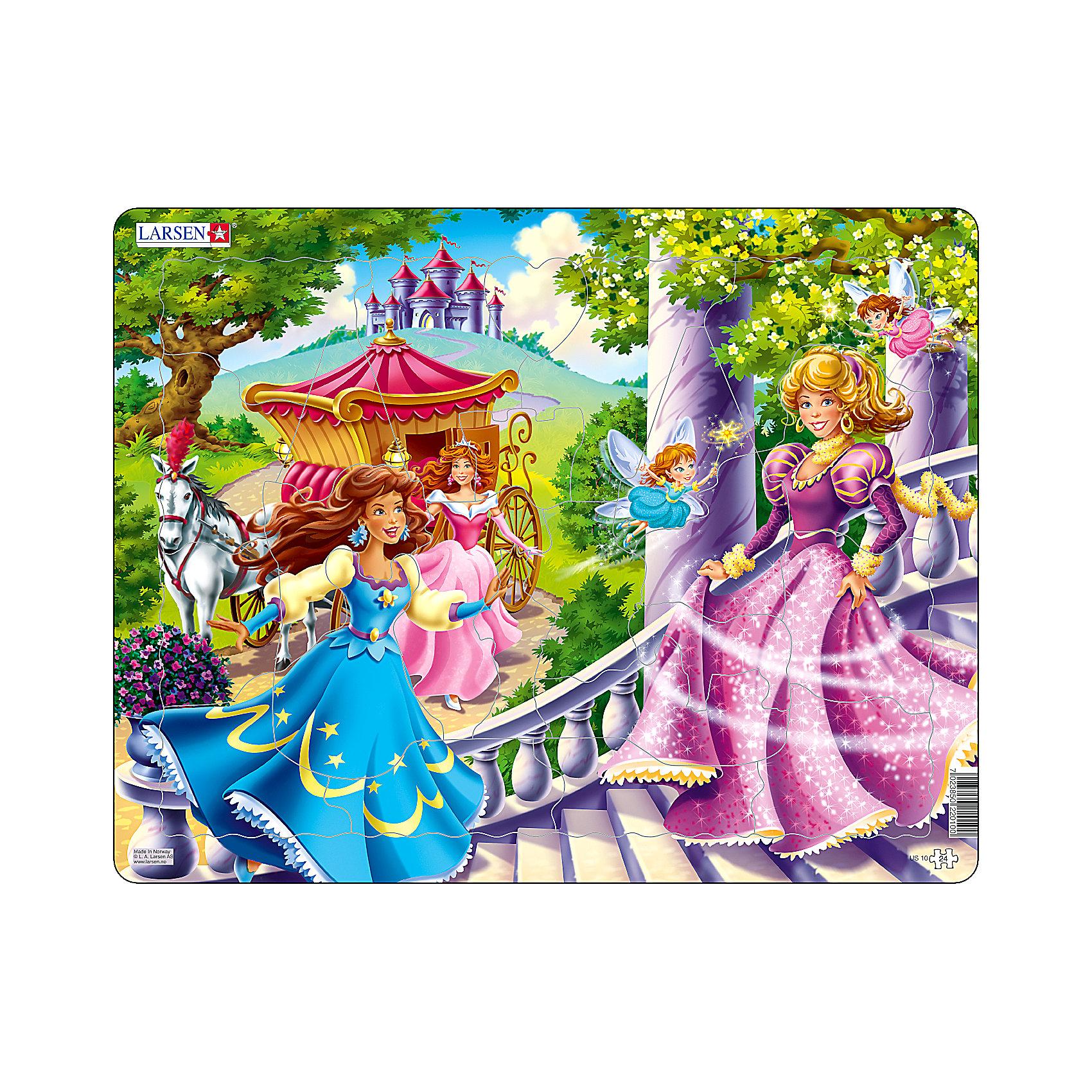 Пазл Принцессы,  Larsen, 24 деталиПазл Принцессы,  Larsen, 24 детали – это хороший и добрый подарок для маленькой поклонницы сказочных принцесс.<br>На пазле Принцессы изображены сказочные принцессы в сопровождении фей, которые спешат поскорее попасть на сказочный бал. Изготовлен пазл из плотного трехслойного картона, имеет специальную подложку и рамку, которые облегчают процесс сборки. Принцип сборки пазла заключается в использовании принципа совместимости изображений и контуров пазла. Если малыш не сможет совместить детали пазла по рисунку, он сделает это по контуру пазла, вставив его в подложку как вкладыш. Высокое качество материала и печати не допускают износа, расслаивания, деформации деталей и стирания рисунка. Многообразие форм и разные размеры деталей пазла развивают мелкую моторику пальцев. Занятия по сборке пазла развивают образное и логическое мышление, пространственное воображение, память, внимание, усидчивость, координацию движений.<br><br>Дополнительная информация:<br><br>- Количество элементов: 24 детали<br>- Материал: плотный трехслойный картон<br>- Размер пазла: 36,5 x 28,5 см.<br><br>Пазл Принцессы,  Larsen (Ларсен), 24 детали можно купить в нашем интернет-магазине.<br><br>Ширина мм: 370<br>Глубина мм: 286<br>Высота мм: 10<br>Вес г: 322<br>Возраст от месяцев: 36<br>Возраст до месяцев: 60<br>Пол: Женский<br>Возраст: Детский<br>Количество деталей: 24<br>SKU: 3610581