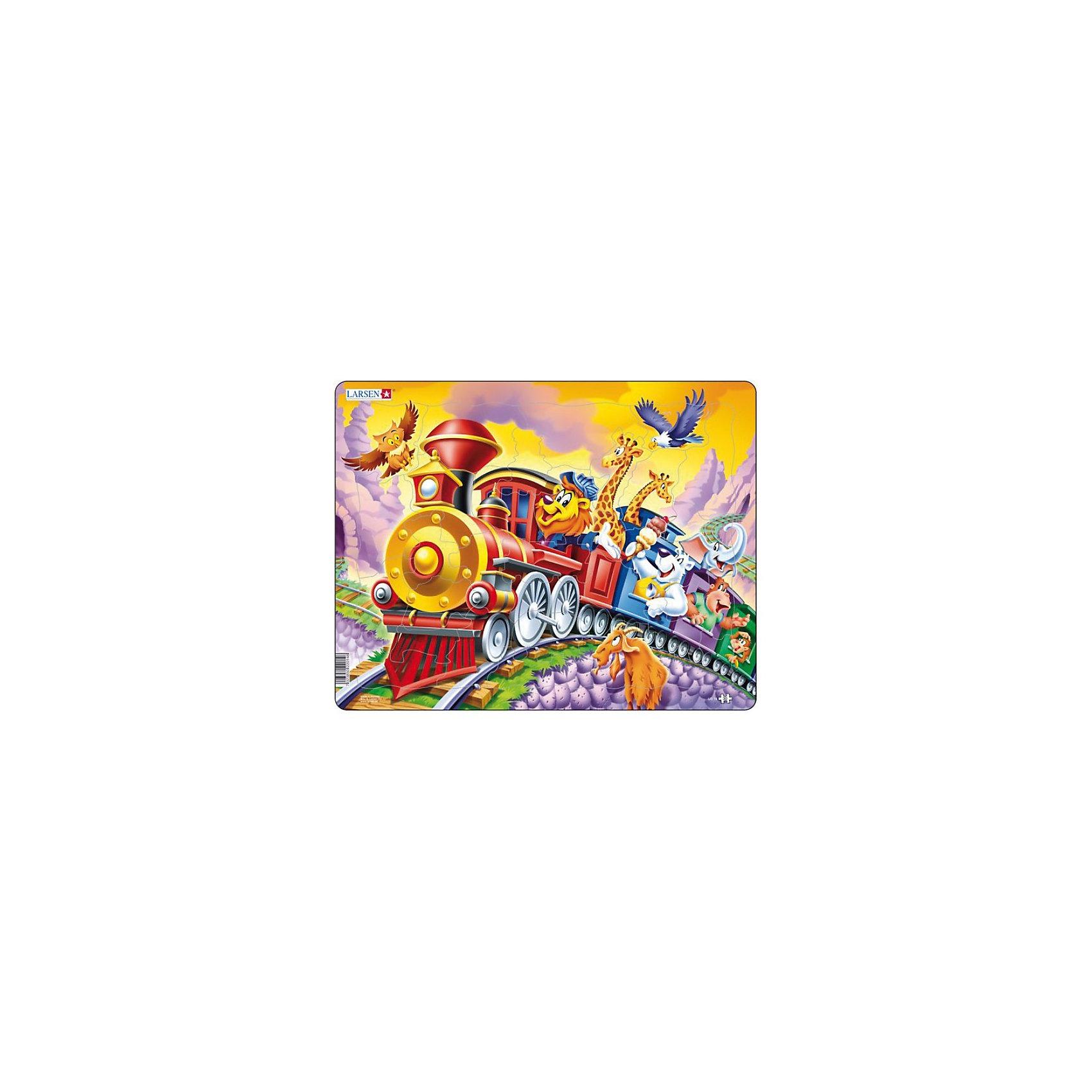 Пазл Поезд с цирком,  Larsen, 30 деталейПазл Поезд с цирком,  Larsen, 30 деталей — это красочный пазл с веселым сюжетом. По рельсам мчится красный паровоз с цирковыми животными. Изготовлен пазл из плотного трехслойного картона, имеет специальную подложку и рамку, которые облегчают процесс сборки. Принцип сборки пазла заключается в использовании принципа совместимости изображений и контуров пазла. Если малыш не сможет совместить детали пазла по рисунку, он сделает это по контуру пазла, вставив его в подложку как вкладыш. Высокое качество материала и печати не допускают износа, расслаивания, деформации деталей и стирания рисунка. Многообразие форм и разные размеры деталей пазла развивают мелкую моторику пальцев. Занятия по сборке пазла развивают образное и логическое мышление, пространственное воображение, память, внимание, координацию движений.<br><br>Дополнительная информация:<br><br>- Количество элементов: 30 деталей <br>- Материал: плотный трехслойный картон<br>- Размер пазла: 36,5 x 28,5 см.<br><br>Пазл Поезд с цирком,  Larsen (Ларсен), 30 деталей можно купить в нашем интернет-магазине.<br><br>Ширина мм: 360<br>Глубина мм: 360<br>Высота мм: 280<br>Вес г: 100<br>Возраст от месяцев: 36<br>Возраст до месяцев: 60<br>Пол: Унисекс<br>Возраст: Детский<br>Количество деталей: 30<br>SKU: 3610582