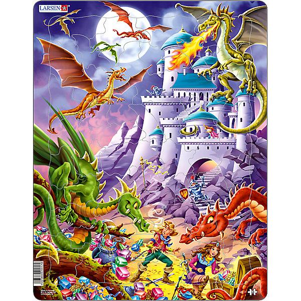 Пазл Драконы,  Larsen, 50 деталейПазлы для малышей<br>Пазл Драконы,  Larsen, 50 деталей – этот яркий развивающий пазл, обязательно понравится вашему ребенку.<br>Пазл Драконы - яркий и красивый пазл, состоящий из 50 деталей. Изготовлен пазл из плотного трехслойного картона, имеет специальную подложку и рамку, которые облегчают процесс сборки. Принцип сборки пазла заключается в использовании принципа совместимости изображений и контуров пазла. Если малыш не сможет совместить детали пазла по рисунку, он сделает это по контуру пазла, вставив его в подложку как вкладыш. Высокое качество материала и печати не допускают износа, расслаивания, деформации деталей и стирания рисунка. Многообразие форм и разные размеры деталей пазла развивают мелкую моторику пальцев. Занятия по сборке пазла развивают образное и логическое мышление, пространственное воображение, память, внимание, усидчивость, координацию движений.<br><br>Дополнительная информация:<br><br>- Количество элементов: 50 деталей<br>- Материал: плотный трехслойный картон<br>- Размер пазла: 36,5 x 28,5 см.<br><br>Пазл Драконы,  Larsen (Ларсен), 50 деталей можно купить в нашем интернет-магазине.<br>Ширина мм: 367; Глубина мм: 289; Высота мм: 7; Вес г: 316; Возраст от месяцев: 48; Возраст до месяцев: 72; Пол: Мужской; Возраст: Детский; Количество деталей: 50; SKU: 3610583;