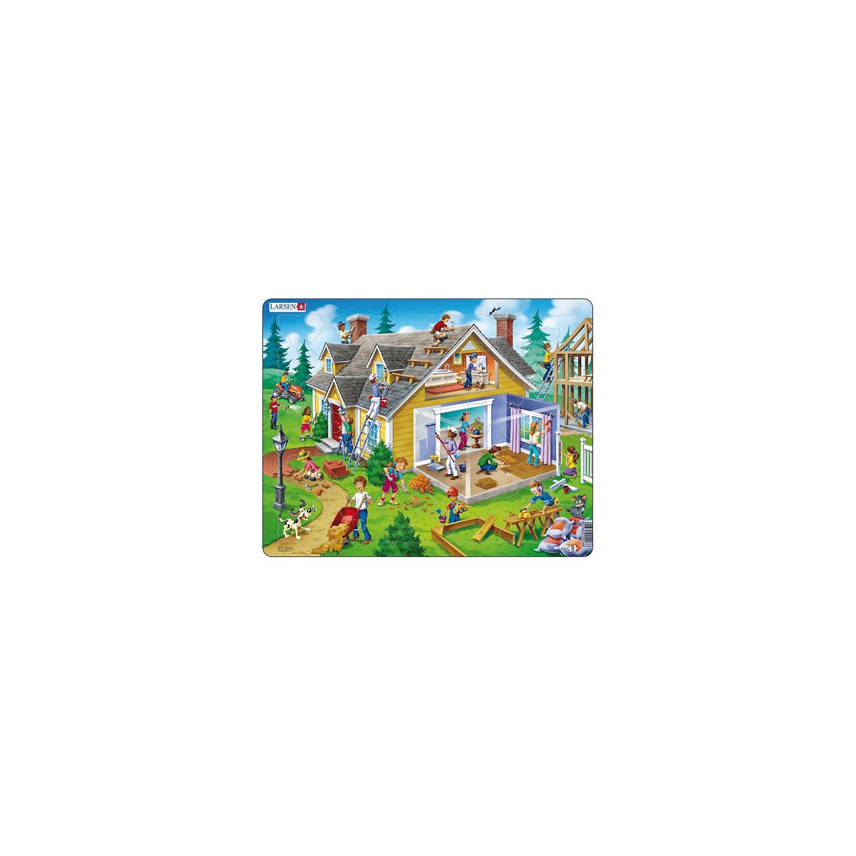 Пазл Дом,  Larsen, 62 деталиКоличество деталей<br>Пазл Дом,  Larsen, 62 детали - это яркий и красивый пазл. На живописном участке изображен ярко-желтый деревянный дом с черепичной крышей. На пазле изображена внешняя часть дома и внутренняя. В процессе сборки пазла взрослые могут называть все составные части дома: стены, крыша, дверь, окна, чердак, труба, цветы. Можно акцентировать внимание на действиях людей, производящих строительные работы: красит стены, кладет паркет, кладет тротуарную плитку, подметает, поднимается по лестнице, вешает занавески и так далее. Изготовлен пазл из плотного трехслойного картона, имеет специальную подложку и рамку, которые облегчают процесс сборки. Принцип сборки пазла заключается в использовании принципа совместимости изображений и контуров пазла. Если малыш не сможет совместить детали пазла по рисунку, он сделает это по контуру пазла, вставив его в подложку как вкладыш. Высокое качество материала и печати не допускают износа, расслаивания, деформации деталей и стирания рисунка. Многообразие форм и разные размеры деталей пазла развивают мелкую моторику пальцев. Занятия по сборке пазла развивают образное и логическое мышление, пространственное воображение, память, внимание, усидчивость, координацию движений.<br><br>Дополнительная информация:<br><br>- Количество элементов: 62 детали<br>- Материал: плотный трехслойный картон<br>- Размер пазла: 36,5 x 28,5 см.<br><br>Пазл Дом,  Larsen (Ларсен), 62 детали можно купить в нашем интернет-магазине.<br><br>Ширина мм: 360<br>Глубина мм: 360<br>Высота мм: 280<br>Вес г: 100<br>Возраст от месяцев: 36<br>Возраст до месяцев: 60<br>Пол: Унисекс<br>Возраст: Детский<br>Количество деталей: 62<br>SKU: 3610584