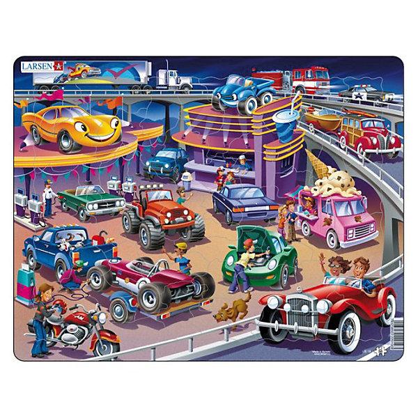 Пазл Машины,  Larsen, 58 деталиПазлы для малышей<br>Пазл Машины,  Larsen, 58 детали представляет собой красочное и детальное изображение мотоцикла, легковых и грузовых машин разных цветов и марок на современном автозаправочном комплексе. На заднем плане по мосту и автотрассам мчатся автомобили. Изготовлен пазл из плотного трехслойного картона, имеет специальную подложку и рамку, которые облегчают процесс сборки. Принцип сборки пазла заключается в использовании принципа совместимости изображений и контуров пазла. Если малыш не сможет совместить детали пазла по рисунку, он сделает это по контуру пазла, вставив его в подложку как вкладыш. Высокое качество материала и печати не допускают износа, расслаивания, деформации деталей и стирания рисунка. Многообразие форм и разные размеры деталей пазла развивают мелкую моторику пальцев. Занятия по сборке пазла развивают образное и логическое мышление, пространственное воображение, память, внимание, усидчивость, координацию движений.<br><br>Дополнительная информация:<br><br>- Количество элементов: 58 деталей<br>- Материал: плотный трехслойный картон<br>- Размер пазла: 36,5 x 28,5 см.<br><br>Пазл Машины,  Larsen (Ларсен), 58 детали можно купить в нашем интернет-магазине.<br><br>Ширина мм: 360<br>Глубина мм: 360<br>Высота мм: 280<br>Вес г: 100<br>Возраст от месяцев: 36<br>Возраст до месяцев: 60<br>Пол: Мужской<br>Возраст: Детский<br>Количество деталей: 58<br>SKU: 3610585