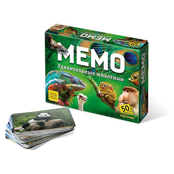 Игра Мемо. Удивительные животныеИгры мемо<br>Игра Мемо Удивительные животные – это полезная познавательная игра с простыми правилами обязательно понравится вашему ребенку.<br>Мемо - это игра для тренировки зрительной памяти. В состав игры входит 50 парных карточек, то есть всего 25 пар карточек. Перед началом игры карточки перемешиваются и раскладываются на столе картинками вниз. Играют несколько игроков. В свой ход игрок переворачивает 2 любые карточки и показывает их остальным игрокам. Если карточки одинаковые, игрок забирает их себе и делает еще один ход. Если разные - переворачивает их и кладет обратно, а ход переходит к следующему игроку. Выигрывает игрок, собравший к концу игры наибольшее количество карточек. Эта игра, безусловно, расширяет кругозор, развивает внимание, тренирует память. В буклете вы найдёте описание всех животных, изображённых на карточках, узнаете их особенности, привычки, среду обитания. В такую игру можно играть вдвоем с ребенком, а можно использовать ее на детских праздниках, когда требуется немного успокоить детей. Игра будет интересна и взрослым в качестве простой, недолгой, увлекательной игры. Карточки занимают достаточно мало места, их можно взять с собой в поездку.<br><br>Дополнительная информация:<br><br>- Возраст: для детей от 5 лет<br>- Вес: 154 гр.<br>- Размер упаковки: 12,5 x 17 x 4 см<br>- Размер карточек: 6,3 х 9,3 см.<br>- В наборе: 25 пар картонных карточек с животных, буклет<br><br>Игру Мемо Удивительные животные можно купить в нашем интернет-магазине.<br>Ширина мм: 170; Глубина мм: 40; Высота мм: 125; Вес г: 235; Возраст от месяцев: 60; Возраст до месяцев: 72; Пол: Унисекс; Возраст: Детский; SKU: 3612527;