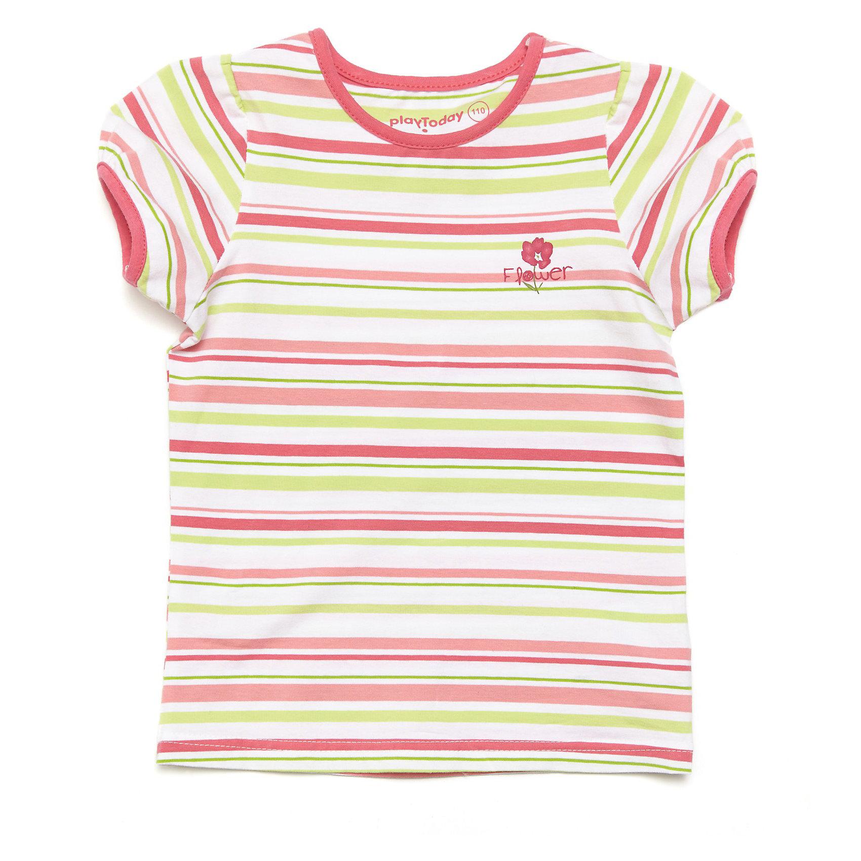 Футболка для девочки PlayToday* яркая футболка в полоску из эластичного трикотажа<br>* горловина и края рукавов обработаны трикотажной бейкой яркого цвета<br>* декорирована принтом<br>Состав:<br>95% хлопок, 5% эластан<br><br>Футболку для девочки PlayToday (Плэйтудей) можно купить в нашем магазине.<br><br>Ширина мм: 199<br>Глубина мм: 10<br>Высота мм: 161<br>Вес г: 151<br>Цвет: разноцветный<br>Возраст от месяцев: 72<br>Возраст до месяцев: 84<br>Пол: Женский<br>Возраст: Детский<br>Размер: 122,98,110,104,116,128<br>SKU: 3614596