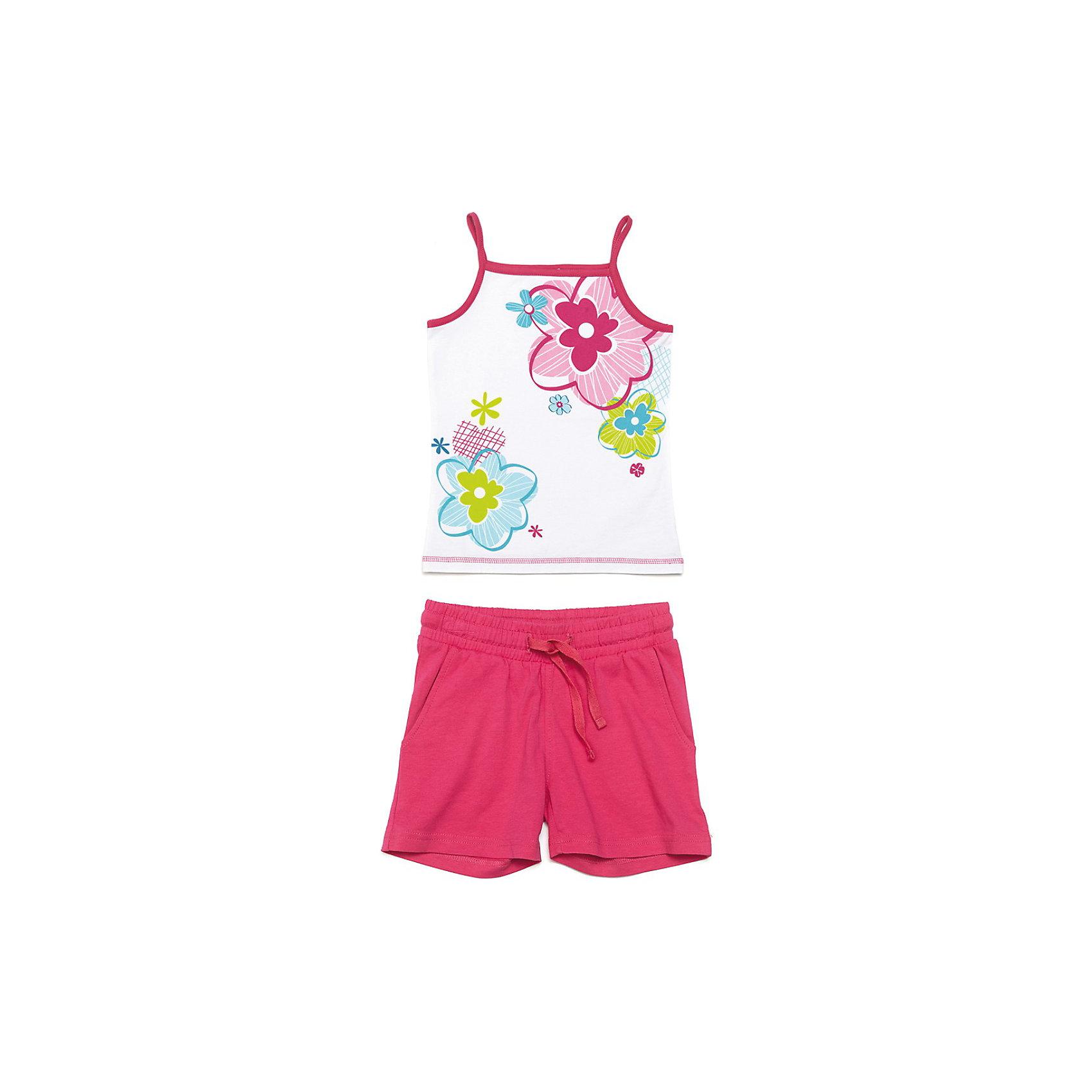 PlayToday Комплект: майка и шорты для девочки PlayToday комплект топ майка и шорты relax mode комплект топ майка и шорты