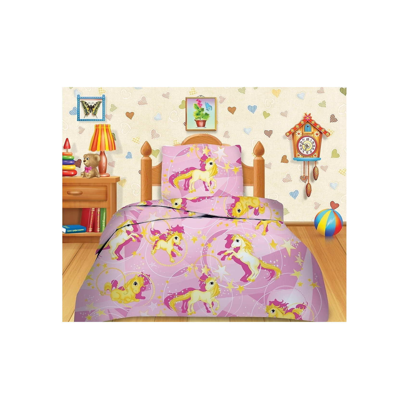 Постельное белье 1,5 Лошадки, бязь, 70*70, Кошки-мышкиПолутораспальный комплект постельного белья Лошадки из серии Кошки-Мышки – качественное детское постельное белье с изображением лошадки на розовом фоне для спальни Вашего ребенка.<br><br>Комплект изготовлен из нежной бязи, оно мягкое на ощупь и гладкое. Используемые красители ткани разрешены к использованию на детском постельном белье, стойки к выцветанию и стирке. Милый и приятный рисунок этого постельного белья порадует малыша. Он с удовольствием будет спать в такой кроватке.<br><br>Дополнительная информация:<br><br>-Материалы: бязь (100% хлопок).<br>-Размеры: пододеяльник 143х215 см, простыня 150х215 см, наволочка 70х70 см.<br>-Комплектация: пододеяльник (1 шт.), простыня (1 шт.), наволочка (1 шт.)<br><br>Комплект постельного белья со сказочным рисунком станет прекрасным подарком для вашего ребенка.<br><br>Комплект постельного белья Лошадки 1,5-спальный, Кошки-Мышки можно купить в нашем магазине.<br><br>Ширина мм: 360<br>Глубина мм: 280<br>Высота мм: 60<br>Вес г: 1400<br>Возраст от месяцев: 36<br>Возраст до месяцев: 144<br>Пол: Женский<br>Возраст: Детский<br>SKU: 3615494