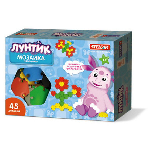 Мозаика Полянка, Лунтик, 45 деталейМозаика<br>Мозаика Полянка, Лунтик, 45 деталей – это яркий, увлекательный и развивающий подарок для вашего ребенка.<br>Мозаика Полянка, Лунтик — это напольная мозаика-конструктор для малышей. Детали мозаики сделаны в виде шестиугольников размером 60 мм. Высота деталей около 10 мм. С трех сторон шестиугольника есть выступы округлой формы, а с трех других сторон — вогнутости той же формы. Таким образом, детали мозаики соединяются между собой как элементы обычного пазла. Но в отличие от пазла, в этой мозаике можно соединять любые детали любой стороной. Дизайн элементов (наличие специальных углублений для пальцев) дает возможность легко извлекать фишки, располагающиеся в центре созданного рисунка. Специально разработанный вид креплений помогает создать подвижные конструкции. Мозаика сделана из твердого и гигиеничного пластика, который легко моется в теплой воде. В наборе имеются детали четырех цветов: красные, желтые, зеленые и голубые. Мозаику можно легко выкладывать на любой горизонтальной поверхности — на столе, на полу, или на траве или земле на улице. В книжке-подсказке приведены примеры фигурок. Занятия с мозаикой хорошо развивают творческие способности, воображение, координацию движений, мелкую моторику рук и ориентировку на плоскости воображение.<br><br>Дополнительная информация:<br><br>- Возраст: для детей от 3 лет<br>- В наборе: фишки диаметром 60 мм - 45 шт.; книжка с рисунками<br>- Размер упаковки: 35 x 25 x 7 см.<br>- Материал: пластик<br><br>Мозаику Полянка, Лунтик, 45 деталей можно купить в нашем интернет-магазине.<br><br>Ширина мм: 290<br>Глубина мм: 195<br>Высота мм: 40<br>Вес г: 437<br>Возраст от месяцев: 12<br>Возраст до месяцев: 72<br>Пол: Унисекс<br>Возраст: Детский<br>SKU: 3616327