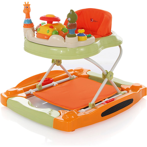 Ходунки Grace, Jetem, зеленый/оранжевыйХодунки<br>Яркие детские ходунки Grace Jetem (Жетем), совмещающие в себе функции ходунков и игрового центра, привлекут внимание малыша и помогут ему самостоятельно передвигаться по квартире, исследовать новые предметы и активно развиваться.<br><br>У ходунков очень легкая рама и широкое основание для максимальной устойчивости, регулировка по высоте в 4-х положениях. При желании ходунки можно легко трансформировать в стульчик-качалку на пластиковых полозьях. Мягкое комфортное сиденье изготовлено из высококачественного и легкомоющегося материала. Ходунки оснащены двумя стопорами, которые позволяют контролировать передвижения ребенка, замок-фиксатор защищает от произвольного складывания и служит дополнительной безопасности.<br><br>Игровой центр развлечет малыша яркими развивающими игрушками, забавными животными, звуковыми и музыкальными эффектами. Игровая панель легко снимается, после чего можно пользоваться лотком как столиком. Съемную игровую панель можно использовать как отдельную игрушку. Резиновый бампер и 4 двойных поворотных силиконовых колеса обеспечат защиту вашей мебели и напольному покрытию. Ходунки компактно складываются гармошкой и не занимают много места в квартире.<br>    <br>Дополнительная информация:<br><br>- Цвет: зеленый/оранжевый.<br>- Возраст: от 6 мес. до 1,5 лет (вес до 12 кг.). <br>- Материал: пластик, металл, полиэстер. <br>- Материал колес: силикон<br>- Требуются батарейки (для игрового центра): 2 х АА (в комплекте нет).<br>- Размер: 71 х 65 см. <br>- Размер упаковки: 71 x 65 x 16 см.<br>- Вес: 6 кг.<br><br>Детские ходунки Grace Jetem (Жетем) можно купить в нашем интернет-магазине.<br><br>Ширина мм: 700<br>Глубина мм: 630<br>Высота мм: 150<br>Вес г: 6000<br>Возраст от месяцев: 6<br>Возраст до месяцев: 18<br>Пол: Унисекс<br>Возраст: Детский<br>SKU: 3618036