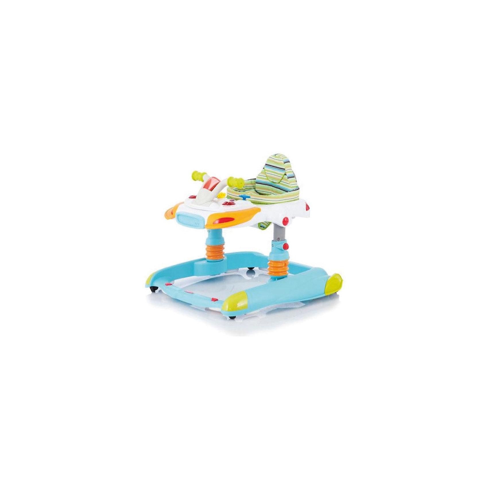 Ходунки Scooter, Jetem, светло-голубойХодунки<br>Яркие детские ходунки Scooter Jetem (Жетем), совмещающие в себе функции ходунков-прыгунков и игрового центра, привлекут внимание малыша и помогут ему самостоятельно передвигаться по квартире, исследовать новые предметы и активно развиваться.<br><br>У ходунков очень легкая рама и широкое основание для максимальной устойчивости, регулировка по высоте в 3-х положениях. Ходунки могут использоваться как прыгунки, для этого нужно установить фиксаторы стоек в определенном положении (в конструкцию стоек входят пружины). Мягкое комфортное сиденье изготовлено из высококачественного и легкомоющегося материала. Ходунки оснащены двумя стопорами, которые позволяют контролировать передвижения ребенка, замок-фиксатор защищает от произвольного складывания и служит дополнительной безопасности.<br><br>Игровой центр оформлен в виде панели управления скутером, при повороте руля вправо/влево, вверх/вниз звучат мелодии и загораются лампочки. На панели также размещены 5 звуковых кнопок, воспроизводящие пять разных мелодий одновременно со световыми сигналами, имеется регулятор громкости и съемная игрушка. При повороте ключа раздается звук заводящегося двигателя. Игровая панель легко снимается, после чего можно пользоваться лотком как столиком. Съемную игровую панель можно использовать как отдельную игрушку. Резиновый бампер и 4 двойных поворотных силиконовых колеса обеспечат защиту вашей мебели и напольному покрытию. Ходунки компактно складываются гармошкой и не занимают много места в квартире.<br>    <br>Дополнительная информация:<br><br>- Цвет: светло-голубой.<br>- Возраст: от 6 мес. до 1,5 лет (вес до 12 кг.). <br>- Материал: пластик, металл, полиэстер.  <br>- Требуются батарейки (для игрового центра): 2 х АА (в комплекте нет).<br>- Размер: 75 х 65 х 55 см.<br>- Размер упаковки: 67 х 75 х 20 см.<br>- Вес с упаковкой: 8,5 кг. <br>- Вес: 8,5 кг.<br><br>Детские ходунки Scooter Jetem (Жетем) можно купить в нашем интернет-магазине.<br><br>Ширин