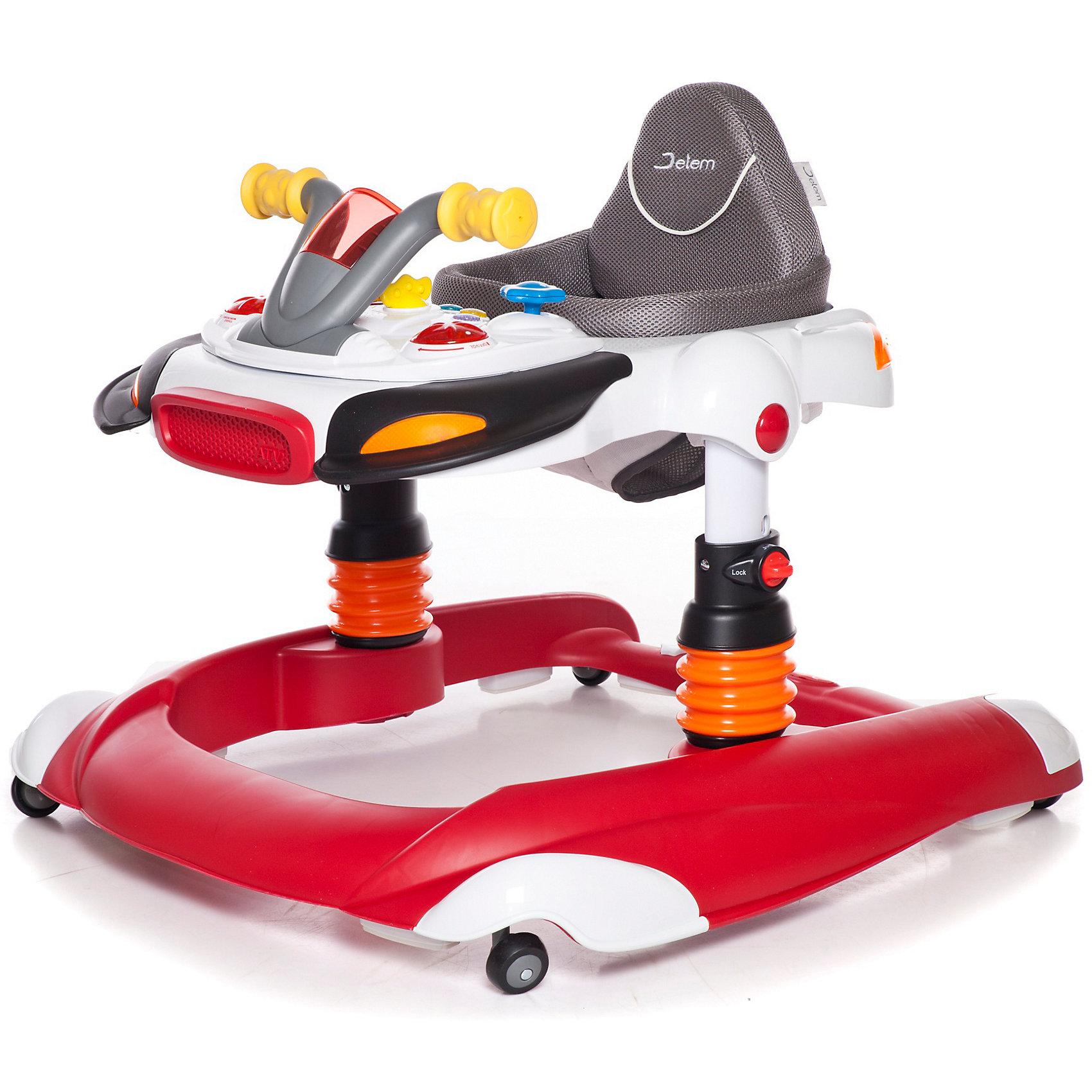 Ходунки Scooter, Jetem, красныйЯркие детские ходунки Scooter Jetem (Жетем), совмещающие в себе функции ходунков-прыгунков и игрового центра, привлекут внимание малыша и помогут ему самостоятельно передвигаться по квартире, исследовать новые предметы и активно развиваться.<br><br>У ходунков очень легкая рама и широкое основание для максимальной устойчивости, регулировка по высоте в 3-х положениях. Ходунки могут использоваться как прыгунки, для этого нужно установить фиксаторы стоек в определенном положении (в конструкцию стоек входят пружины). Мягкое комфортное сиденье изготовлено из высококачественного и легкомоющегося материала. Ходунки оснащены двумя стопорами, которые позволяют контролировать передвижения ребенка, замок-фиксатор защищает от произвольного складывания и служит дополнительной безопасности.<br><br>Игровой центр оформлен в виде панели управления скутером, при повороте руля вправо/влево, вверх/вниз звучат мелодии и загораются лампочки. На панели также размещены 5 звуковых кнопок, воспроизводящие пять разных мелодий одновременно со световыми сигналами, имеется регулятор громкости и съемная игрушка. При повороте ключа раздается звук заводящегося двигателя. Игровая панель легко снимается, после чего можно пользоваться лотком как столиком. Съемную игровую панель можно использовать как отдельную игрушку. Резиновый бампер и 4 двойных поворотных силиконовых колеса обеспечат защиту вашей мебели и напольному покрытию. Ходунки компактно складываются гармошкой и не занимают много места в квартире.<br>    <br>Дополнительная информация:<br><br>- Цвет: красный.<br>- Возраст: от 6 мес. до 1,5 лет (вес до 12 кг.). <br>- Материал: пластик, металл, полиэстер.  <br>- Требуются батарейки (для игрового центра): 2 х АА (в комплекте нет).<br>- Размер: 75 х 65 х 55 см.<br>- Размер упаковки: 67 х 75 х 20 см.<br>- Вес с упаковкой: 8,5 кг. <br>- Вес: 8,5 кг.<br><br>Детские ходунки Scooter Jetem (Жетем) можно купить в нашем интернет-магазине.<br><br>Ширина мм: 670<br>Глубина мм: 