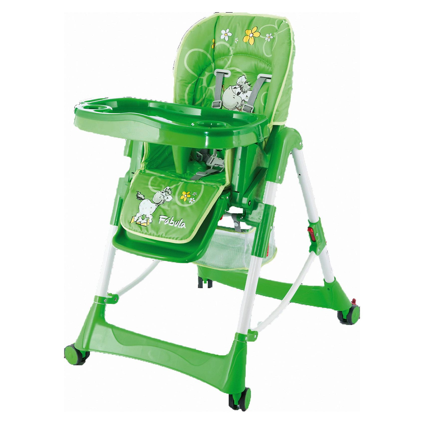 Стульчик для кормления Piero Fabula Horse, Jetem, зеленыйКомфортный стул для кормления Piero Fabula Horse от Jetem (Жетем) поможет сделать кормление малыша приятным и безопасным. Стульчик выполнен в ярком привлекательном дизайне с изображениями забавной лошадки. <br><br>Рама с поперечной перекладиной обеспечивает максимальную устойчивость. Мягкое комфортное сиденье имеет спинку, у которой регулируются высота (6 уровней) и угол наклона (3 положения) в зависимости от потребностей ребенка. Стульчик оснащен 5-точечными ремнями безопасности и ограничителем, которые крепко удержат малыша и не позволят<br>соскользнуть вперед. Регулируемая подставка для ножек обеспечит ребенку надежную опору. У стульчика высокие бортики, столик также регулируется по высоте. Съемная столешница имеет 3 положения глубины, есть отверстие для стакана.<br><br>Имеется дополнительная съемная прозрачная столешница, сетка для игрушек. Прорезиненные колеса с тормозами предотвращают царапины на напольном покрытии. Клеенчатая обивка легко моется. Стульчик легко и компактно складывается и не занимает много места. Стульчик рекомендуется использовать от 4 -9 мес. до 3 лет, максимальный вес - 15 кг.<br><br>Дополнительная информация:<br><br>- Цвет: зеленый.<br>- Материал: пластик, ткань. <br>- Размер в разложенном состоянии: 125 х 60 х 65 см.<br>- Высота спинки стульчика: 58 см.<br>- Ширина сидения: 29 см.<br>- Глубина сидения: 28 см.<br>- Размер упаковки: 54 х 29 х 7 см. <br>- Вес: 10,5 кг. <br><br>Стул для кормления Piero Fabula Horse, Jetem (Жетем) можно купить в нашем интернет-магазине.<br><br>Ширина мм: 700<br>Глубина мм: 280<br>Высота мм: 550<br>Вес г: 10500<br>Возраст от месяцев: 6<br>Возраст до месяцев: 36<br>Пол: Унисекс<br>Возраст: Детский<br>SKU: 3618041