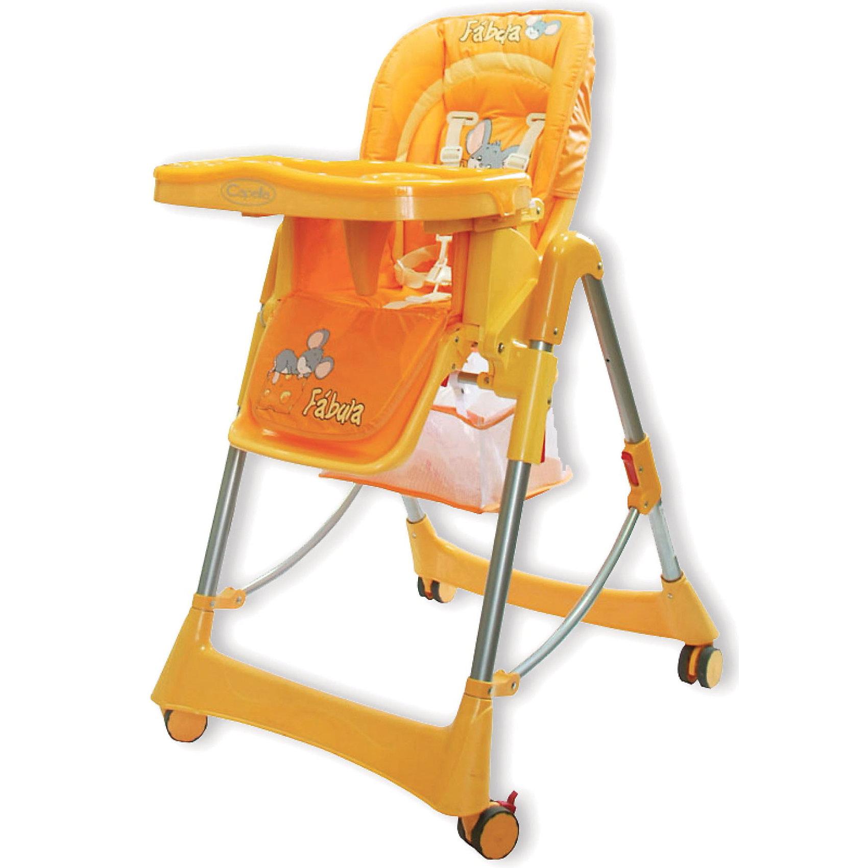 Стульчик для кормления Piero Fabula Horse, Jetem, оранжевыйКомфортный стул для кормления Piero Fabula Horse от Jetem (Жетем) поможет сделать кормление малыша приятным и безопасным. Стульчик выполнен в ярком привлекательном дизайне с изображениями забавной лошадки. <br><br>Рама с поперечной перекладиной обеспечивает максимальную устойчивость. Мягкое комфортное сиденье имеет спинку, у которой регулируются высота (6 уровней) и угол наклона (3 положения) в зависимости от потребностей ребенка. Стульчик оснащен 5-точечными ремнями безопасности и ограничителем, которые крепко удержат малыша и не позволят<br>соскользнуть вперед. Регулируемая подставка для ножек обеспечит ребенку надежную опору. У стульчика высокие бортики, столик также регулируется по высоте. Съемная столешница имеет 3 положения глубины, есть отверстие для стакана.<br><br>Имеется дополнительная съемная прозрачная столешница, сетка для игрушек. Прорезиненные колеса с тормозами предотвращают царапины на напольном покрытии. Клеенчатая обивка легко моется. Стульчик легко и компактно складывается и не занимает много места. Стульчик рекомендуется использовать от 4 -9 мес. до 3 лет, максимальный вес - 15 кг.<br><br>Дополнительная информация:<br><br>- Цвет: оранжевый.<br>- Материал: пластик, ткань. <br>- Размер в разложенном состоянии: 125 х 60 х 65 см.<br>- Высота спинки стульчика: 58 см.<br>- Ширина сидения: 29 см.<br>- Глубина сидения: 28 см.<br>- Размер упаковки: 54 х 29 х 7 см. <br>- Вес: 10,5 кг. <br><br>Стул для кормления Piero Fabula Horse, Jetem (Жетем) можно купить в нашем интернет-магазине.<br><br>Ширина мм: 700<br>Глубина мм: 280<br>Высота мм: 550<br>Вес г: 10500<br>Возраст от месяцев: 6<br>Возраст до месяцев: 36<br>Пол: Унисекс<br>Возраст: Детский<br>SKU: 3618042
