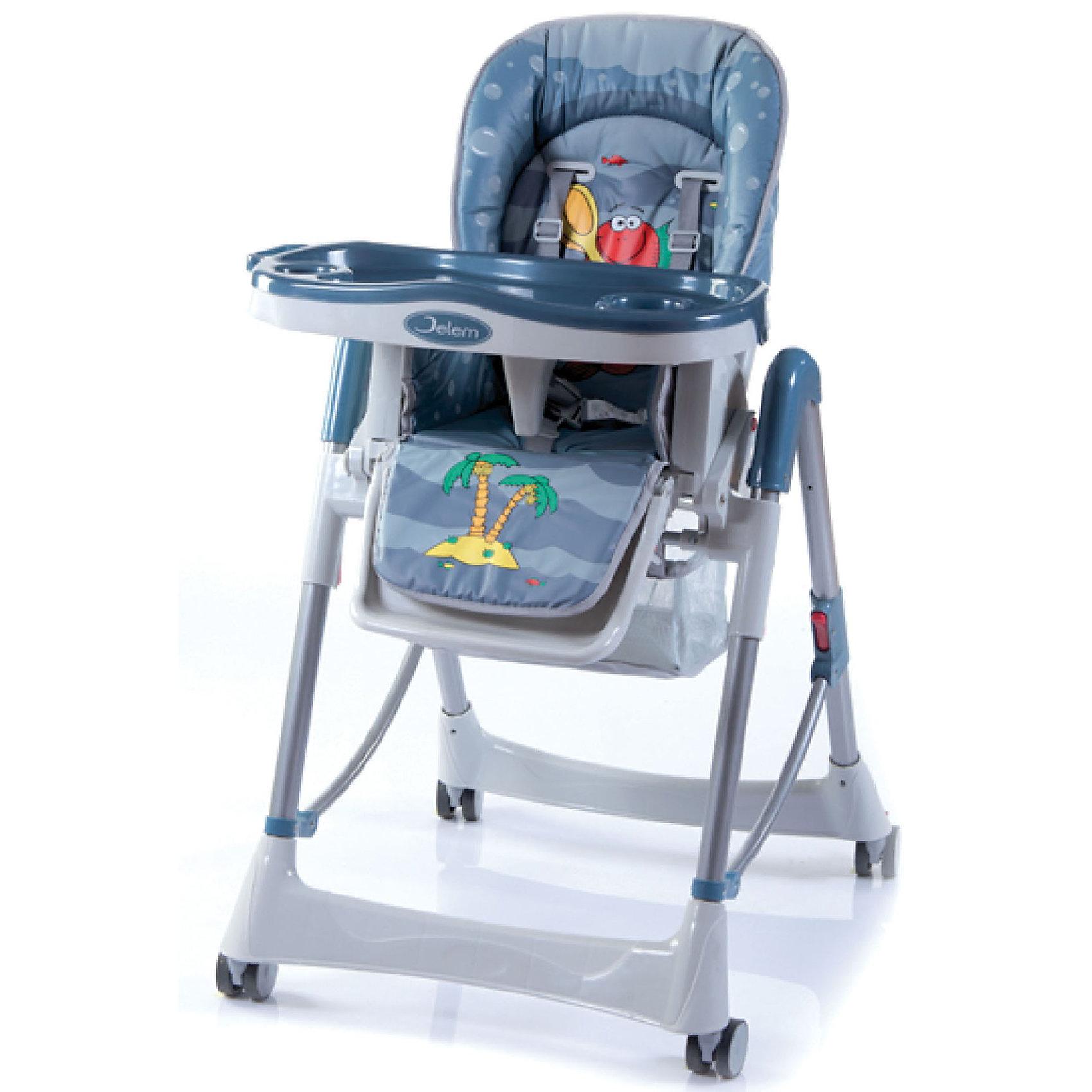 Стульчик для кормления Piero De Lux,Jetem, FishСтульчики для кормления<br>Комфортный стул для кормления Piero Deluxe Fish от Jetem (Жетем) поможет сделать кормление малыша приятным и безопасным. Стульчик выполнен в ярком привлекательном дизайне с изображениями забавных рыбок. <br><br>Рама с поперечной перекладиной обеспечивает максимальную устойчивость. Мягкое комфортное сиденье имеет спинку, у которой регулируются высота (6 уровней) и угол наклона (3 положения) в зависимости от потребностей ребенка. Стульчик оснащен 5-точечными ремнями безопасности и ограничителем под дном столешницы, которые крепко удержат<br>малыша и не позволят соскользнуть вперед. Регулируемая подставка для ножек обеспечит ребенку надежную опору. У стульчика высокие бортики, столик также регулируется по высоте. Съемная столешница имеет 3 положения глубины, есть отверстие для стакана.<br><br>Имеется дополнительная съемная прозрачная столешница, сетка для игрушек. Прорезиненные колеса предотвращают царапины на напольном покрытии, задние колеса фиксируются. Клеенчатая обивка легко моется. Стульчик легко и компактно складывается и не занимает много места. Стульчик рекомендуется использовать от 4 -9 мес. до 3 лет, максимальный вес - 18 кг.<br><br>Дополнительная информация:<br><br>- Цвет: fish (серо-голубой).<br>- Материал: пластик, ткань. <br>- Размер в разложенном состоянии: 125 х 60 х 65 см.<br>- Высота спинки стульчика: 58 см.<br>- Ширина сидения: 29 см.<br>- Глубина сидения: 28 см.<br>- Размер упаковки: 55 х 29 х 7 см. <br>- Вес с упаковкой: 11 кг. <br><br>Стул для кормления Piero Deluxe Fish, Jetem (Жетем) можно купить в нашем интернет-магазине.<br><br>Ширина мм: 700<br>Глубина мм: 280<br>Высота мм: 550<br>Вес г: 10500<br>Возраст от месяцев: 6<br>Возраст до месяцев: 36<br>Пол: Унисекс<br>Возраст: Детский<br>SKU: 3618047
