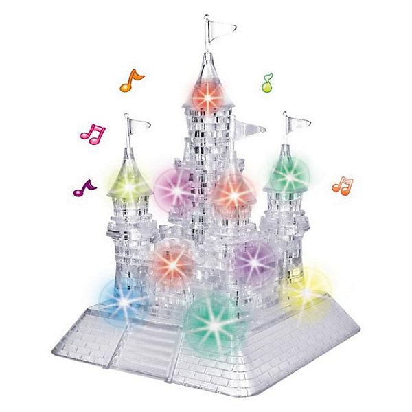 Кристаллический пазл 3D Замок,3D пазлы<br>Кристаллический пазл 3D Замок, светильник – это объемная головоломка из полупрозрачного пластика.<br>Это головоломка большого размера, в ней целых 105 деталей. Собрать без шпаргалки будет нелегко. В Замке 5 башен, каждую из них нужно собрать и расположить на основании. Зато после того, как вы водрузите на башни флаги, будьте готовы праздновать победу! Но еще большее удовольствие Вы получите, когда в комнате выключите свет и под встроенную музыку включите освещение замка. Это великолепное зрелище всем подарит радость и восторг. В комплекте с головоломкой вы получите инструкцию, где для каждой детали будет указан номер. Если вы захотите воспользоваться подсказкой, разложите детали согласно номерам в инструкции и соединяйте одна с другой. Но наш совет: не спешите заглядывать в шпаргалку, не лишайте себя удовольствия самостоятельно собрать эту очаровательно выглядящую фигуру!<br><br>Дополнительная информация:<br><br>- Возраст: для детей от 14 лет<br>- Материал: пластик<br>- Размер: 217x163x118 мм.<br>- Вес: 662 г.<br>- Батарейки: 3 батарейки АА (в комплект не входят)<br><br>Кристаллический пазл 3D Замок, светильник можно купить в нашем интернет-магазине.<br>Ширина мм: 10; Глубина мм: 9; Высота мм: 17; Вес г: 500; Возраст от месяцев: 60; Возраст до месяцев: 1188; Пол: Унисекс; Возраст: Детский; Количество деталей: 105; SKU: 3620575;