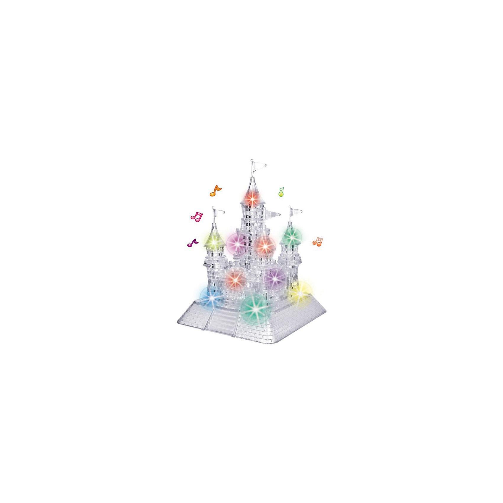 Кристаллический пазл 3D Замок,3D пазлы<br>Кристаллический пазл 3D Замок, светильник – это объемная головоломка из полупрозрачного пластика.<br>Это головоломка большого размера, в ней целых 105 деталей. Собрать без шпаргалки будет нелегко. В Замке 5 башен, каждую из них нужно собрать и расположить на основании. Зато после того, как вы водрузите на башни флаги, будьте готовы праздновать победу! Но еще большее удовольствие Вы получите, когда в комнате выключите свет и под встроенную музыку включите освещение замка. Это великолепное зрелище всем подарит радость и восторг. В комплекте с головоломкой вы получите инструкцию, где для каждой детали будет указан номер. Если вы захотите воспользоваться подсказкой, разложите детали согласно номерам в инструкции и соединяйте одна с другой. Но наш совет: не спешите заглядывать в шпаргалку, не лишайте себя удовольствия самостоятельно собрать эту очаровательно выглядящую фигуру!<br><br>Дополнительная информация:<br><br>- Возраст: для детей от 14 лет<br>- Материал: пластик<br>- Размер: 217x163x118 мм.<br>- Вес: 662 г.<br>- Батарейки: 3 батарейки АА (в комплект не входят)<br><br>Кристаллический пазл 3D Замок, светильник можно купить в нашем интернет-магазине.<br><br>Ширина мм: 10<br>Глубина мм: 9<br>Высота мм: 17<br>Вес г: 500<br>Возраст от месяцев: 60<br>Возраст до месяцев: 1188<br>Пол: Унисекс<br>Возраст: Детский<br>Количество деталей: 105<br>SKU: 3620575