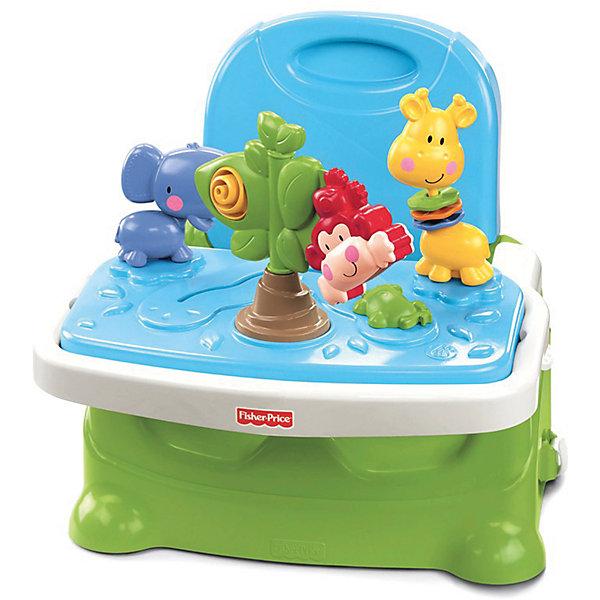 Игровой стульчик-бустер для кормления Discover n Grow Busy BabyРазвивающие центры<br>Если Вам необходимо заниматься делами, а малыш требует постоянного внимания, можно занять его чем-нибудь интересным и увлекательным! Лучше всего для этой цели подходит подставка для игр малыша, Fisher-Price (Фишер Прайс) с игрушками, которые моментально привлекут внимание и заинтересуют малыша! <br>Эта подставка сделана в виде стульчика со столиком, на котором прикреплены на присоски три игрушки в виде обезьянки, слоника и жирафа. Игрушки приятно гремят, вращаются и имеют объемные и подвижные детали, которые ребенок сможет перебирать ручками.<br>Подставку можно поставить на полу или прикрепить к обычному стулу. Это очень удобно, если Вы придете с ребенком в кафе – Вам не нужно будет искать свободный детский стульчик. GПодставку можно носить с собой, так как ее крепежные ремни одновременно служат ремешками для переноски подставки, а сама она компактно складывается. Кроме того, на подставке можно кормить малыша, так как верхняя часть с игрушками снимается и остается обычный поднос.<br>Эту подставку-стульчик можно даже мыть в посудомоечной машине! <br>Такая вещь будет просто незаменима, а главное, что малышу будет чем заняться в то время, пока Вы заняты!<br><br>Дополнительная информация:<br><br>- Суперкомпактный стульчик для кормления и подставка для игр;<br>- Находка для обладателей маленьких кухонь;<br>- Панель с игрушками на присосках;<br>- Можно безопасно использовать на полу и на стуле;<br>- Сидение компактно складывается;<br>- Для удобства переноски во время прогулки в комплект входит ремень для ношения через плечо;<br>- Трехточечные ремни безопасности;<br>- Нескользящие ножки для использования на полу;<br>- Надежно крепится к большинству кухонных или столовых стульев;<br>- Допустимый вес эксплуатации: 15 кг;<br>- Минимальный размер стула для этого бустера: 38,5х35 см;<br>- Размер упаковки: 39 х 23 х 33 см;<br>- Вес: 2,33 кг.<br><br>Подставку для игр малыша, Fisher-Price (Фишер П