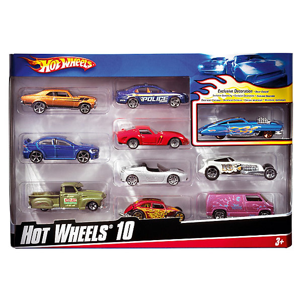 Набор из 10 машинок, металл, Hot Wheels