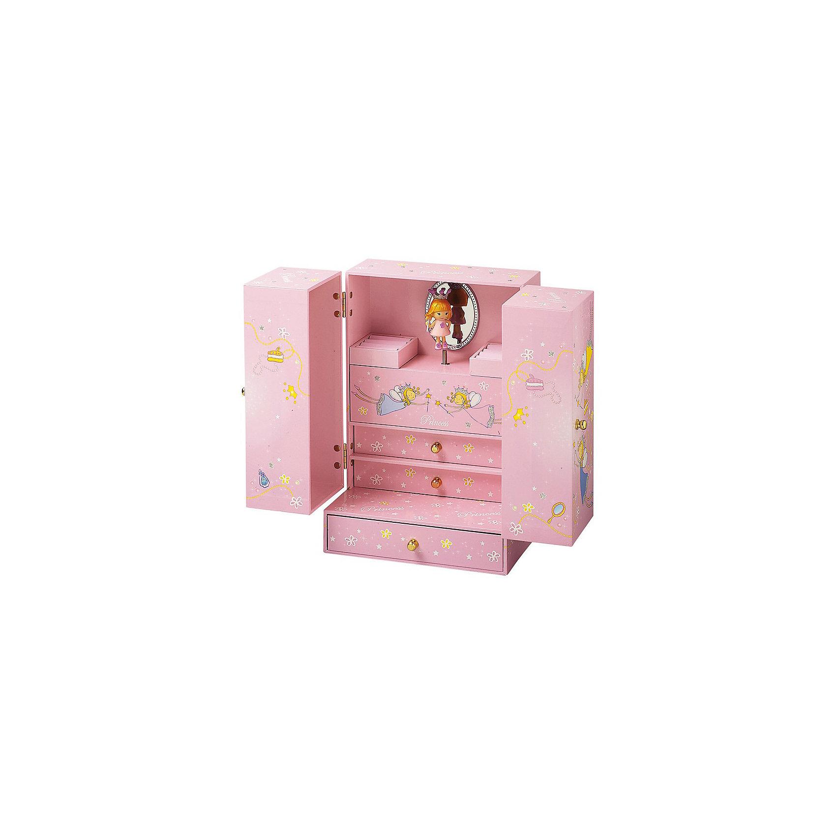 Музыкальная шкатулка механическая Принцесса, TrousselierЯркая оригинальная Музыкальная шкатулка механическая Принцесса, Trousselier (Трусалье) выполнена в виде шкафчика. <br><br>Эта шкатулка напоминает кукольный шкафчик со множеством отделений, которые можно использовать в зависимости от фантазии ребенка. Внутри, за распахивающимися дверцами – два ящичка с ручками, подушечки для колечек, зеркальце. Вращающаяся под музыку фигурка делает шкатулку еще более интересной. <br><br>Дополнительная информация:<br><br>-Размер шкатулки 19 x 24,5 x 12,5 см.<br>-Материалы: плотный картон, металл<br><br>Эта музыкальная шкатулка будет лучшим подарком для девочки!<br><br>Музыкальную шкатулку механическую Принцесса, Trousselier (Трусалье) можно купить в нашем магазине.<br><br>Ширина мм: 171<br>Глубина мм: 250<br>Высота мм: 130<br>Вес г: 1545<br>Возраст от месяцев: 36<br>Возраст до месяцев: 144<br>Пол: Женский<br>Возраст: Детский<br>SKU: 3620653