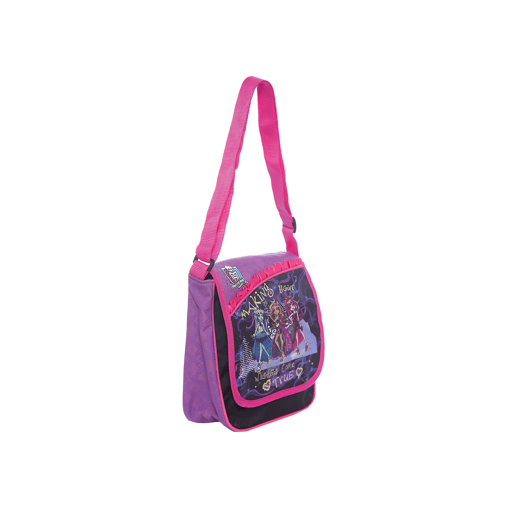 Сумочка, Monster HighСумки и рюкзаки<br>Сумка-, Мonster High (Монстр Хай) – это стильный аксессуар для юной поклонницы мультсериала «Школа монстров».<br>Сумка, Мonster High подойдет для прогулок и встреч с друзьями. Застегивается сумка на застежку-молнию и клапан на липучке. У сумки одно большое отделение, задний карман и внутренний карман на молнии, регулируемая лямка.<br><br>Дополнительная информация:<br>- Размер: 24 х 21 х 16 см;<br>- Ткань: сатин 300 ден;<br>- Цвет: черный;<br>- Отделка: розовый кант, атласная розовая лента, фиолетовые вставки, вышивка золотым люрексом.<br><br>Сумку, Мonster High (Монстр Хай) можно купить в нашем интернет-магазине.<br><br>Ширина мм: 240<br>Глубина мм: 210<br>Высота мм: 160<br>Вес г: 300<br>Возраст от месяцев: 36<br>Возраст до месяцев: 156<br>Пол: Женский<br>Возраст: Детский<br>SKU: 3622552