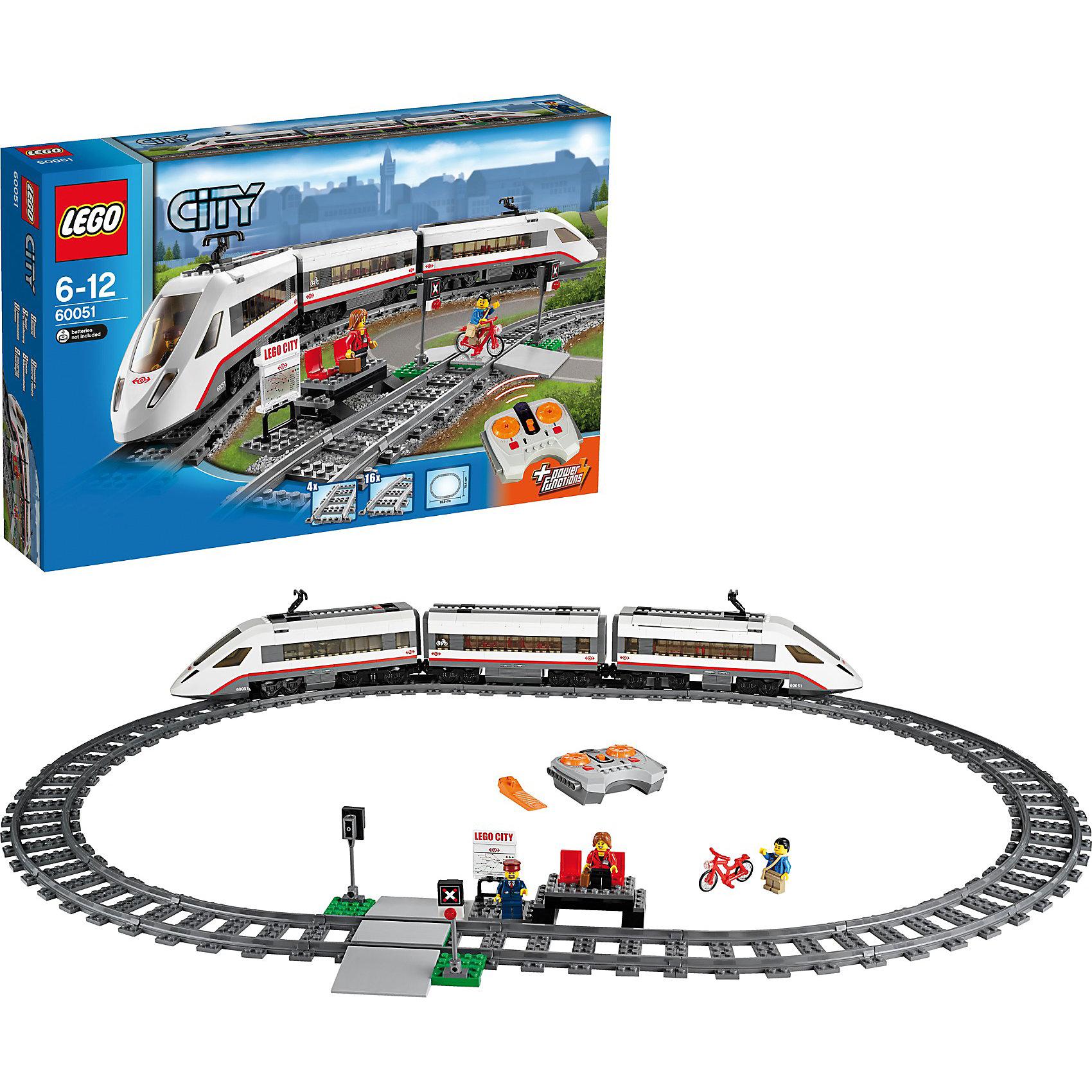 LEGO City 60051: Скоростной пассажирский поездИдеи подарков<br>Характеристики:<br><br>• Предназначение: набор для конструирования, сюжетно-ролевые игры<br>• Пол: для мальчиков<br>• Материал: пластик<br>• Цвет: серый, белый, оранжевый, бордовый<br>• Серия LEGO: City<br>• Размер упаковки (Д*Ш*В): 58,2*10,3*37,8 см<br>• Вес: 2 кг 228 г<br>• Количество деталей: 610 шт.<br>• Наличие дистанционного управления<br>• Комплектация: рельсы, вагончики, 3 мини-фигурки, аксессуары<br>• Батарейки: 9 шт. типа ААА (в комплекте не предусмотрены)<br><br>LEGO City 60051: Скоростной пассажирский поезд – набор от всемирно известного производителя конструкторов для детей всех возрастных категорий. LEGO City 60051: Скоростной пассажирский поезд является базовым набором серии City. Набор включает в себя рельсы для железной дороги, 3 вагончика, 3 мини-фигурки, светофор, детали для железно-дорожной платформы. Поезд управляется с помощью пульта дистанционного управления, имеет 7 скоростей движения. В комплекте предусмотрена яркая инструкция, которая научит вашего ребенка действовать по образцу. <br>Игры с конструкторами LEGO развивают усидчивость, внимательность, мелкую моторику рук, способствуют формированию конструкторского мышления. С набором LEGO City 60051: Скоростной пассажирский поезд ваш ребенок сможет придумывать целые сюжетные истории, развивая тем самым воображение и обогащая свой словарный запас. <br><br>LEGO City 60051: Скоростной пассажирский поезд можно купить в нашем интернет-магазине.<br><br>Ширина мм: 582<br>Глубина мм: 372<br>Высота мм: 105<br>Вес г: 2183<br>Возраст от месяцев: 60<br>Возраст до месяцев: 144<br>Пол: Мужской<br>Возраст: Детский<br>SKU: 3623202
