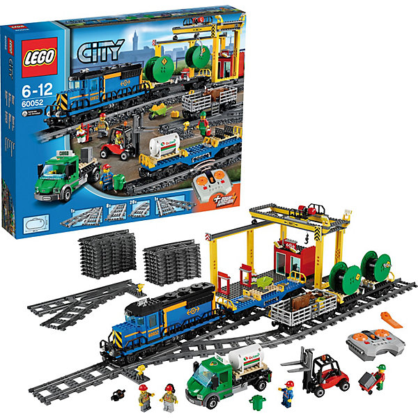 LEGO City 60052: Грузовой поездПластмассовые конструкторы<br>Характеристики:<br><br>• Предназначение: набор для конструирования, сюжетно-ролевые игры<br>• Пол: для мальчиков<br>• Материал: пластик<br>• Цвет: серый, белый, оранжевый, бордовый, зеленый<br>• Серия LEGO: City<br>• Размер упаковки (Д*Ш*В): 58,2*9,1*48 см<br>• Вес: 2 кг 900 г<br>• Количество деталей: 888 шт.<br>• Наличие дистанционного управления<br>• Комплектация: рельсы, локомотив, вагончики, погрузчик, 4 мини-фигурки, аксессуары<br>• Батарейки: 9 шт. типа ААА (в комплекте не предусмотрены)<br><br>LEGO City 60052: Грузовой поезд – набор от всемирно известного производителя конструкторов для детей всех возрастных категорий. LEGO City 60051: Скоростной пассажирский поезд является базовым набором серии City. Набор включает в себя рельсы для железной дороги, грузовые вагончики и локомотив, 4 мини-фигурки, детали для железно-дорожной погрузочной платформы, погрузчик и др. Поезд управляется с помощью пульта дистанционного управления. Он имеет 7 скоростей движения. В комплекте предусмотрена яркая инструкция, которая научит вашего ребенка действовать по образцу. <br>Игры с конструкторами LEGO развивают усидчивость, внимательность, мелкую моторику рук, способствуют формированию конструкторского мышления. С набором LEGO City 60052: Грузовой поезд ваш ребенок сможет придумывать целые сюжетные истории, развивая тем самым воображение и обогащая свой словарный запас. <br><br>LEGO City 60052: Грузовой поезд можно купить в нашем интернет-магазине.<br><br>Ширина мм: 586<br>Глубина мм: 474<br>Высота мм: 101<br>Вес г: 2959<br>Возраст от месяцев: 60<br>Возраст до месяцев: 144<br>Пол: Мужской<br>Возраст: Детский<br>SKU: 3623203