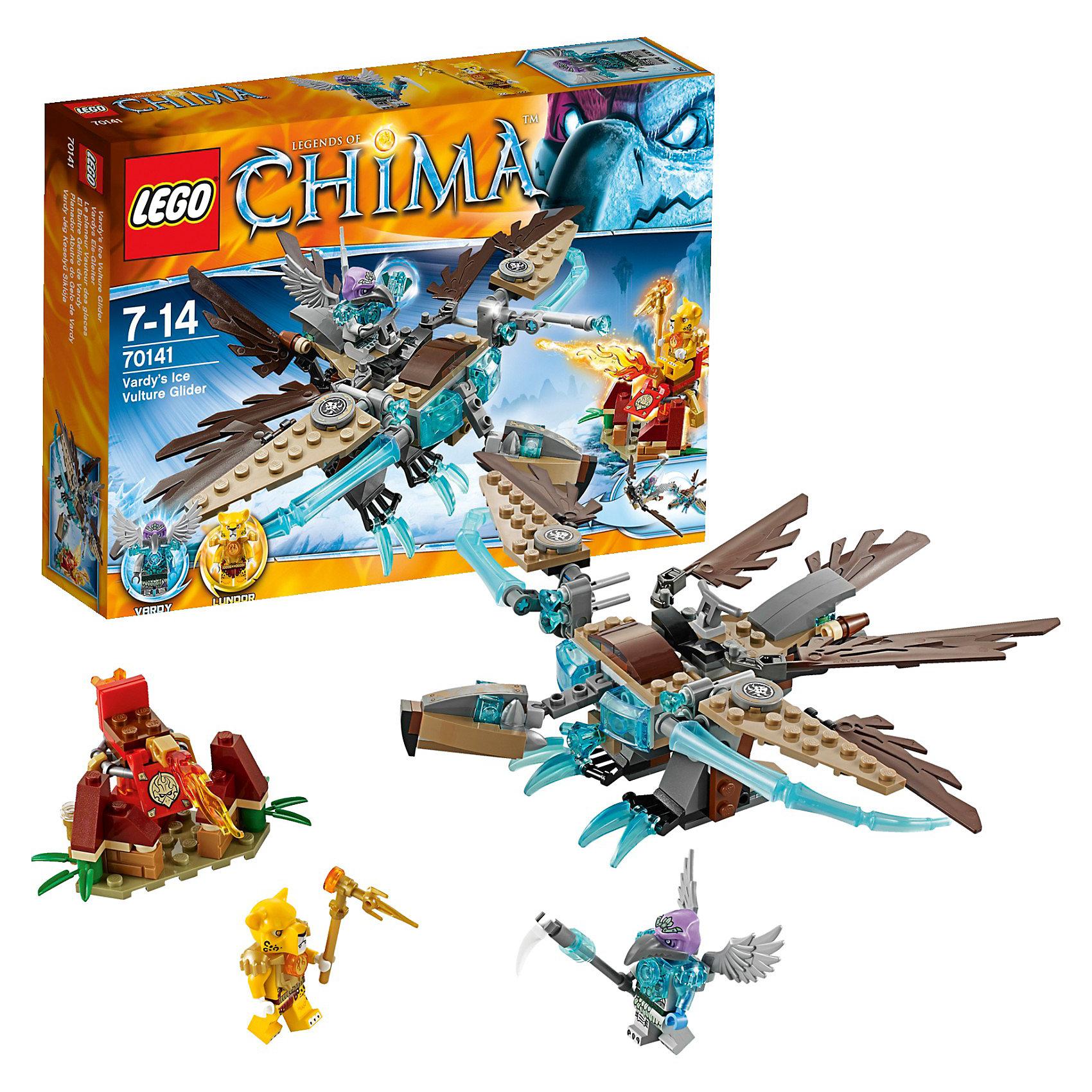 LEGO Legends of Chima 70141: Хищный ледяной планер ВардиLEGO Legends of Chima (ЛЕГО Легенды Чимы) 70141: Хищный ледяной планер Варди - это оригинальный планер, напоминающий хищную птицу.<br>Злой Варди украл ЧИ и убегает на своём суперкрутом ледяном планере-хищнике. Пристегни Ландора к боевой станции и сражайся со льдом огневой мощью, используя свой обжигающий арсенал. Берегись огромных крыльев планера и ледяных голубых клыков, двойных манёвренных ракет, атакующих тебя со всех сторон. Будь осторожен, как раз тогда, когда ты думаешь, что захватил Варди, он может отцепить пилотный модуль и улететь с ценной ЧИ! <br>В набор ЛЕГО Легенды Чимы 70141 входят 2 минифигурки с разнообразным оружием: Варди и Ландор.<br><br>Дополнительная информация:<br><br>- Артикул LEGO: 70141<br>- Количество деталей: 217<br>- Количество мини-фигурок: 2<br>- Материал: пластик<br>- Размер коробки: 26 х 19 х 4,6 см.<br><br>Конструктор LEGO Legends of Chima (ЛЕГО Легенды Чимы) 70141: Хищный ледяной планер Варди можно купить в нашем интернет-магазине.<br><br>Ширина мм: 265<br>Глубина мм: 195<br>Высота мм: 54<br>Вес г: 287<br>Возраст от месяцев: 84<br>Возраст до месяцев: 168<br>Пол: Мужской<br>Возраст: Детский<br>SKU: 3623213