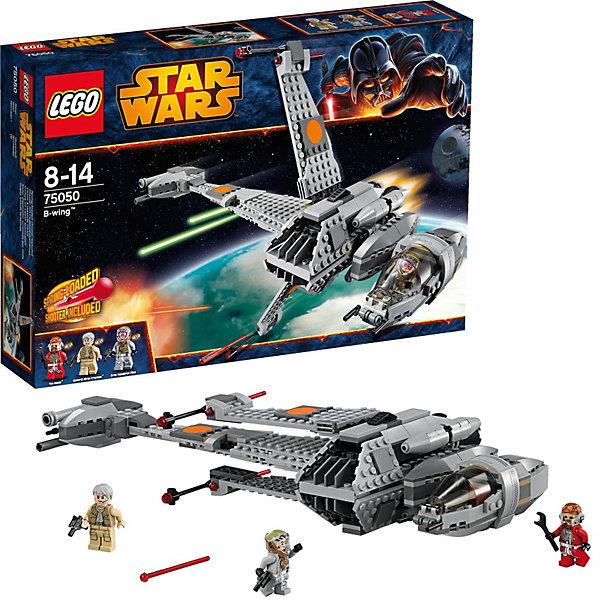 LEGO Star Wars 75050: Истребитель B-WingИдеи подарков<br>Разыгрывай эпические сцены из фильма «Звёздные войны. Эпизод VI. Возвращения джедая» и другие захватывающие космические битвы с помощью истребителя B-Wing из набора LEGO Star Wars (ЛЕГО Звездные войны) 75050!  Благодаря мощному вооружению и маневренным характеристикам B-wing сыграл одну из ключевых ролей во время сражения на планете Эндор, в результате которого была уничтожена вторая Звезда Смерти.  Поворачивай кабину, чтобы пилот мог точно видеть, что происходит впереди.  Благодаря сложной системе гироскопов в режиме полёта бронированная кабина пилота всегда остаётся неподвижной, а крылья вращаются вокруг неё. Увеличивай мощность 4 огромных двигателей, чтобы промчаться через галактику, и стреляй из пушек с пружинным механизмом, чтобы отбить имперские атаки. Переводи крылья из знакомой поперечной формы в режим полёта или посадки. Построй детализированную модель истребителя B-wing с вращающейся кабиной пилота, складными крыльями и активными пушками. <br><br>LEGO Star Wars (ЛЕГО Звездные войны) - это тематическая серия развивающих, детских конструкторов ЛЕГО. Все ключевые моменты и захватывающие космические приключения из разных эпизодов известнейшего фильма Звездные Войны в качестве увлекательного конструктора у Вас дома!<br><br>Дополнительная информация:<br><br>- Конструкторы LEGO Star Wars (ЛЕГО Звездные войны) развивают усидчивость, внимание и фантазию;<br>- В набор входят 3 минифигурки с разнообразным оружием и аксессуарами: Тен Намб, пилот серого отряда и генерал Айрен Кракен;<br>- Количество деталей: 448 шт;<br>- Серия: ЛЕГО Звездные войны;<br>- Материал: пластик;<br>- Размер упаковки: 38,2 х 26,2 х 7,1 см;<br>- Вес: 1,1 кг<br><br>Конструктор LEGO Star Wars (ЛЕГО Звездные войны) 75050: Истребитель B-Wing можно купить в нашем интернет-магазине.<br>Ширина мм: 382; Глубина мм: 266; Высота мм: 76; Вес г: 758; Возраст от месяцев: 96; Возраст до месяцев: 168; Пол: Мужской; Возраст: Детский; SKU: 3623238;