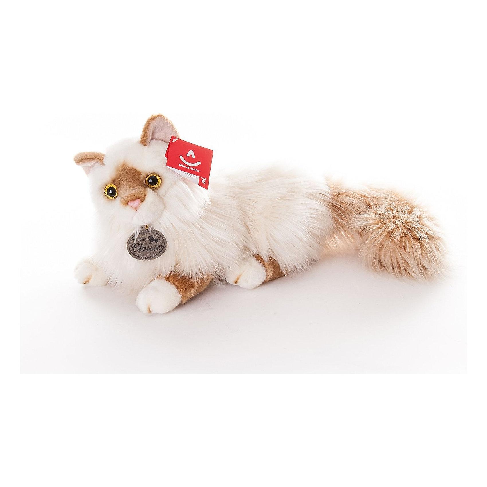 Кошка персидская, 45см, AURORAКошки и собаки<br>Кошка персидская, 45см, AURORA (Аврора) станет малышу настоящим другом, с которым можно весело играть днем и уютно засыпать ночью. Игрушечная кошечка составит приятную компанию малышу на прогулке. Шерстка кошки мягкая и шелковистая, поэтому ребенку будет очень приятно держать игрушку в руках. Игрушка очень приятная на ощупь, содержат специальные пластмассовые гранулы, развивающие тактильные навыки у детей младшего возраста. <br>Кошечка изготовлена из высококачественного плюша, набивка - гипоаллергенный синтепон. Яркие и стойкие цвета приятны для глаз. Не стоит расстраиваться, если малыш ненароком испачкал своего плюшевого друга, ведь игрушку можно стирать при температуре не выше 30?, разрешена машинная и ручная стирка. Производители заботятся о безопасности вашего малыша, поэтому пластмассовые глаза надежно прикреплены к мордочке кошки. Ребенок может разыгрывать любые сюжеты, благодаря чему у него будет развиваться фантазия, воображение, а также навыки сюжетно-ролевой игры.<br><br>Дополнительная информация:<br><br>- Материалы: плюш, синтепон<br>- Размер: 45 х 18 х 18 см.<br>- Вес: 430 гр.<br><br>Кошку персидскую, 45см, AURORA (Аврора) можно купить в нашем интернет-магазине.<br><br>Ширина мм: 350<br>Глубина мм: 130<br>Высота мм: 190<br>Вес г: 430<br>Возраст от месяцев: 36<br>Возраст до месяцев: 120<br>Пол: Унисекс<br>Возраст: Детский<br>SKU: 3624958