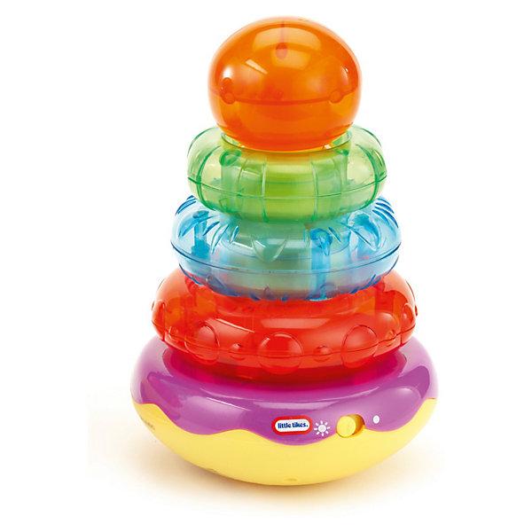 Пирамидка, со звуком,  Little TikesИнтерактивные игрушки для малышей<br>Пирамидка, со звуком,  Little Tikes (Литл Тайкс) – это отличный подарок вашему ребенку.<br>Наблюдайте, как Ваш ребенок, складывая кольца, веселится из-за раздающих смешных звуков. Игра с пирамидкой помогает развивать моторные способности. Яркое оформление со световыми и звуковыми эффектами притягивает внимание детей.<br><br>Дополнительная информация:<br><br>- Возраст: для детей от 1,5 лет<br>- Размер: 15 х 22,5 х 14 см.<br>- Вес: 619 гр.<br>- Требуются батарейки 2шт. типа АА (в комплект не входят)<br><br>Пирамидку, со звуком,  Little Tikes (Литл Тайкс) можно купить в нашем интернет-магазине.<br><br>Ширина мм: 140<br>Глубина мм: 150<br>Высота мм: 230<br>Вес г: 619<br>Возраст от месяцев: 18<br>Возраст до месяцев: 36<br>Пол: Унисекс<br>Возраст: Детский<br>SKU: 3624965