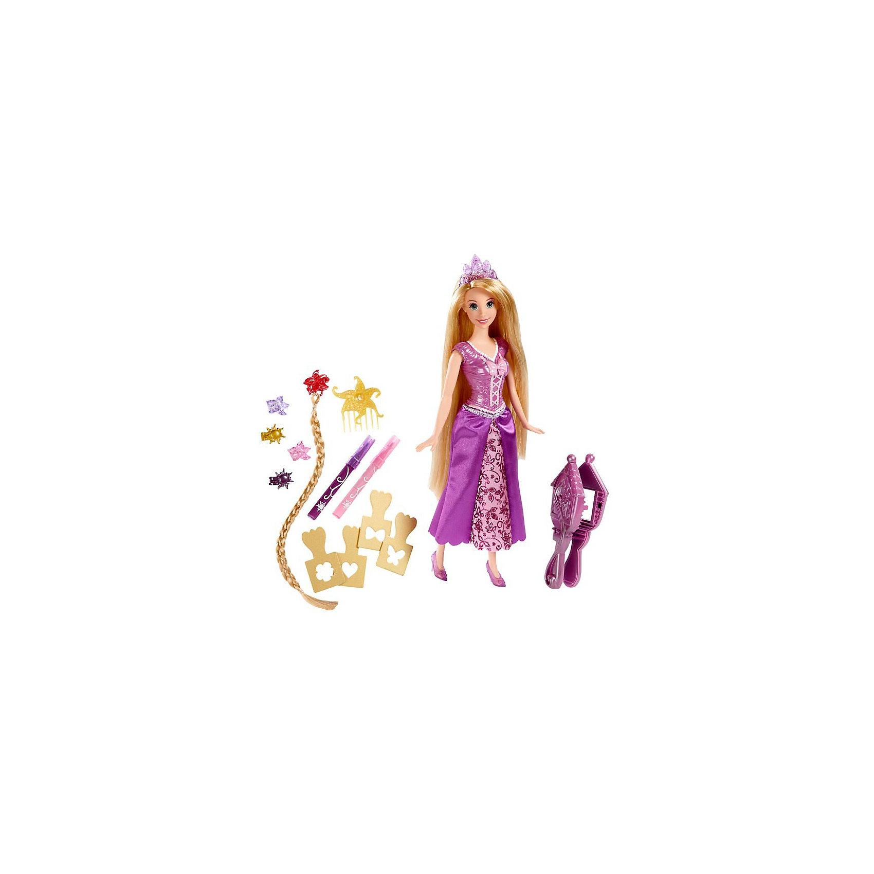 Кукла Рапунцель, с аксессуарами, Disney PrincessЭтот замечательный набор обязательно понравится всем девочкам! Теперь ты можешь стать настоящим стилистом для своей любимой куклы! Экспериментируй с образами, цветами и прическами, а прекрасная Рапунцель поможет тебе в этом. Принцесса одета в красивое розовое платье с обтягивающим лифом и пышной вышитой юбкой, голову красавицы венчает великолепная тиара. <br><br>Дополнительная информация:<br><br>- Материал: пластик, текстиль.<br>- Комплектация: кукла; 4 трафарета для рисунков на волосах;<br>2 смывающихся маркера (розового и фиолетового цвета); 4 заколки; накладная коса на заколке; гребень; зажим для трафарета.<br>- Лиф платья пластиковый. <br>- Голова, руки, ноги куклы подвижные.<br>- Высота куклы: 26 см. <br><br>Куклу Рапунцель, с аксессуарами, Disney Princess (Принцессы Диснея), можно купить в нашем магазине.<br><br>Ширина мм: 335<br>Глубина мм: 177<br>Высота мм: 60<br>Вес г: 272<br>Возраст от месяцев: 36<br>Возраст до месяцев: 72<br>Пол: Женский<br>Возраст: Детский<br>SKU: 3631492
