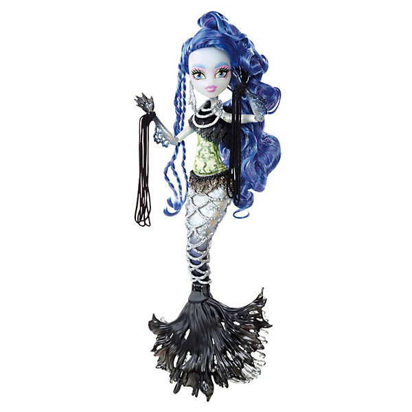 Кукла Сирена Вон Бу Гибриды, Monster HighИгрушки<br>Кукла Сирена Вон Бу Гибриды, Monster High (Монстер Хай) – это кукла, монстр-гибрид, дочь русалки и призрака из мультсериала Школа Монстров..<br>У куклы Сирены Вон Бу из серии Гибриды бледная призрачная «кожа», хвост с черным плавником, который может двигаться, и ручки с перепонками. Она одета в желто-зеленую блузку с оборкой-сеточкой, а в качестве аксессуаров выступают цепи, которые она носит как украшение на шее и на хвосте. На руках - браслеты с длинными подвесками. У куклы роскошные неоново-синие волосы. У Сирены довольно необычный «принт лица»: интересные брови в форме плавничков и жемчужины в глазах. Руки у куклы шарнирные, что позволяет придавать ей различные позы. Подставки у нее нет, т.к. кукла может стоять самостоятельно.<br><br>Дополнительная информация:<br><br>- В комплекте: кукла, дневник, расческа<br>- Высота куклы: 26 см.<br>- Материал: пластик, текстиль<br><br>Куклу Сирена Вон Бу Гибриды, Monster High (Монстр Хай) можно купить в нашем интернет-магазине.<br>Ширина мм: 331; Глубина мм: 261; Высота мм: 78; Вес г: 333; Возраст от месяцев: 72; Возраст до месяцев: 120; Пол: Женский; Возраст: Детский; SKU: 3631559;