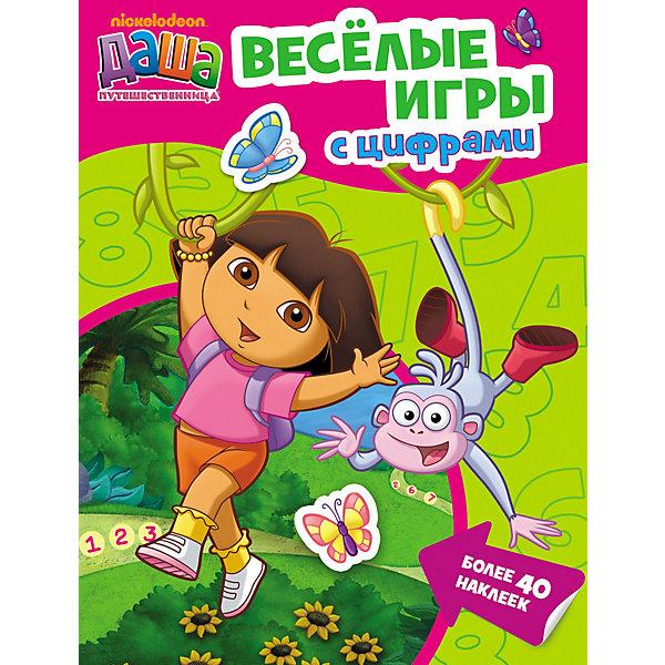 Веселые игры с цифрами, Даша-путешественницаДаша-путешественница<br>Веселые игры с цифрами, Даша-путешественница, Росмэн – это замечательное пособие для детей, которые скоро пойдут в школу.<br>Очаровательная девочка и ее друзья из популярных мультфильмов о Даше-путешественнице приглашают вашего ребенка поиграть с цифрами, разгадать ребусы и выполнить интересные задания, раскрасить картинки и приклеить яркие наклейки, а также познакомиться с первыми английскими словами. С Дашей учиться и играть легко и весело!<br><br>Дополнительная информация:<br><br>- Редактор: Сызранова В.<br>- Тип переплета (обложка): мягкая<br>- Размер: 212 x 275 мм.<br>- Количество страниц: 16<br>- Бумага: офсет<br>- Наклейки: более 40 шт.<br>- Иллюстрации: цветные<br><br>Книгу «Веселые игры с цифрами, Даша-путешественница», Росмэн можно купить в нашем интернет-магазине.<br>Ширина мм: 275; Глубина мм: 211; Высота мм: 2; Вес г: 100; Возраст от месяцев: 36; Возраст до месяцев: 84; Пол: Женский; Возраст: Детский; SKU: 3633652;