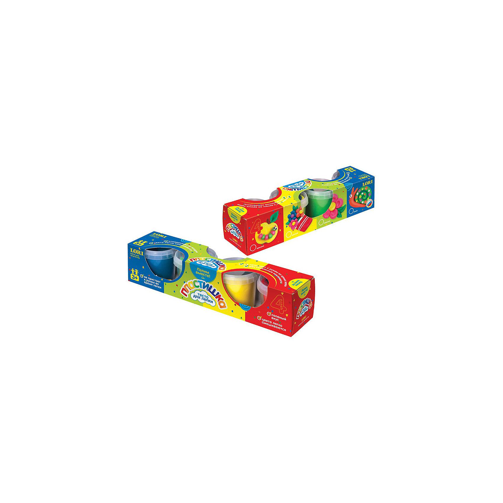 Набор теста для лепки №4, 4 цвета, LORIЛепка<br>Набор теста для лепки №4, 4 цвета, LORI (Лори) предназначен для увлекательной лепки. Лепка из соленого теста различных цветов – одно из самых  увлекательных занятий для ребенка, являющееся более простым способом изображения по сравнению с рисованием. Яркие цвета помогут вдохнуть жизнь в каждое творение малыша.<br><br>Характеристики:<br>-Цвета легко смешиваются<br>-Тесто не пристает к рукам во время лепки, затвердевает на воздухе<br>-Набор для лепки идеально подходит для развития мелкой моторики и фантазии у детей<br>-Не содержит токсичных веществ<br><br>Комплектация: 4 цвета теста по 100 грамм (желтый, красный, синий, зеленый)<br><br>Дополнительная информация:<br><br>-Материалы: мука, вода, ароматизатор, краситель<br>-Вес в упаковке: 484 г<br>-Размеры упаковки: 7 х 7 х 30 см<br><br>Работа с тестом для лепки подарит вашему ребенку положительные эмоции, а также поможет развить мелкую моторику рук, внимательность и усидчивость!<br><br>Набор теста для лепки №4, 4 цвета, LORI (Лори) можно купить в нашем магазине.<br><br>Ширина мм: 70<br>Глубина мм: 298<br>Высота мм: 70<br>Вес г: 484<br>Возраст от месяцев: 36<br>Возраст до месяцев: 120<br>Пол: Унисекс<br>Возраст: Детский<br>SKU: 3635122