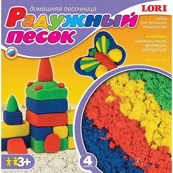 Набор Радужный песок из 4 цветов, LORIКинетический песок<br>Набор Радужный песок из 4 цветов, LORI (Лори) – «домашняя песочница» для ребенка в ненастную погоду.<br><br>Песок – это совершенно удивительный и необыкновенно увлекательный строительный материал для детского творчества. Из него можно лепить яркие цветные, либо одноцветные фигурки, а можно смешивать цвета и получать новые оттенки. На долгие часы «Радужный песок» займет внимание ребенка и в дождь, и в снег, освободив родителей для неотложных дел. <br><br>Характеристики:<br>-«Радужный песок» не пачкается, не рассыпается и не высыхает, лепится с помощью формочек и просто руками<br>-Способствует развитию познавательной активности, мелкой моторики, воображения, игровой деятельности, тактильной чувствительности<br><br>Комплектация:<br>-4 пакетика по 125 мл (зеленый, желтый, синий, красный)<br>-формочки 2 шт.<br>-инструкция<br><br>Дополнительная информация:<br><br>- Вес в упаковке: 625 г<br>- Размеры упаковки: 15 х 15 х 5,3 см<br><br>Работа с «Радужным песочком» подарит вашему ребенку положительные эмоции, а зимой подарит воспоминания о лете, а также поможет развить мелкую моторику рук, внимательность и усидчивость!<br><br>Набор Радужный песок из 4 цветов, LORI (Лори) можно купить в нашем магазине.<br>Ширина мм: 154; Глубина мм: 154; Высота мм: 53; Вес г: 625; Возраст от месяцев: 36; Возраст до месяцев: 120; Пол: Унисекс; Возраст: Детский; SKU: 3635123;