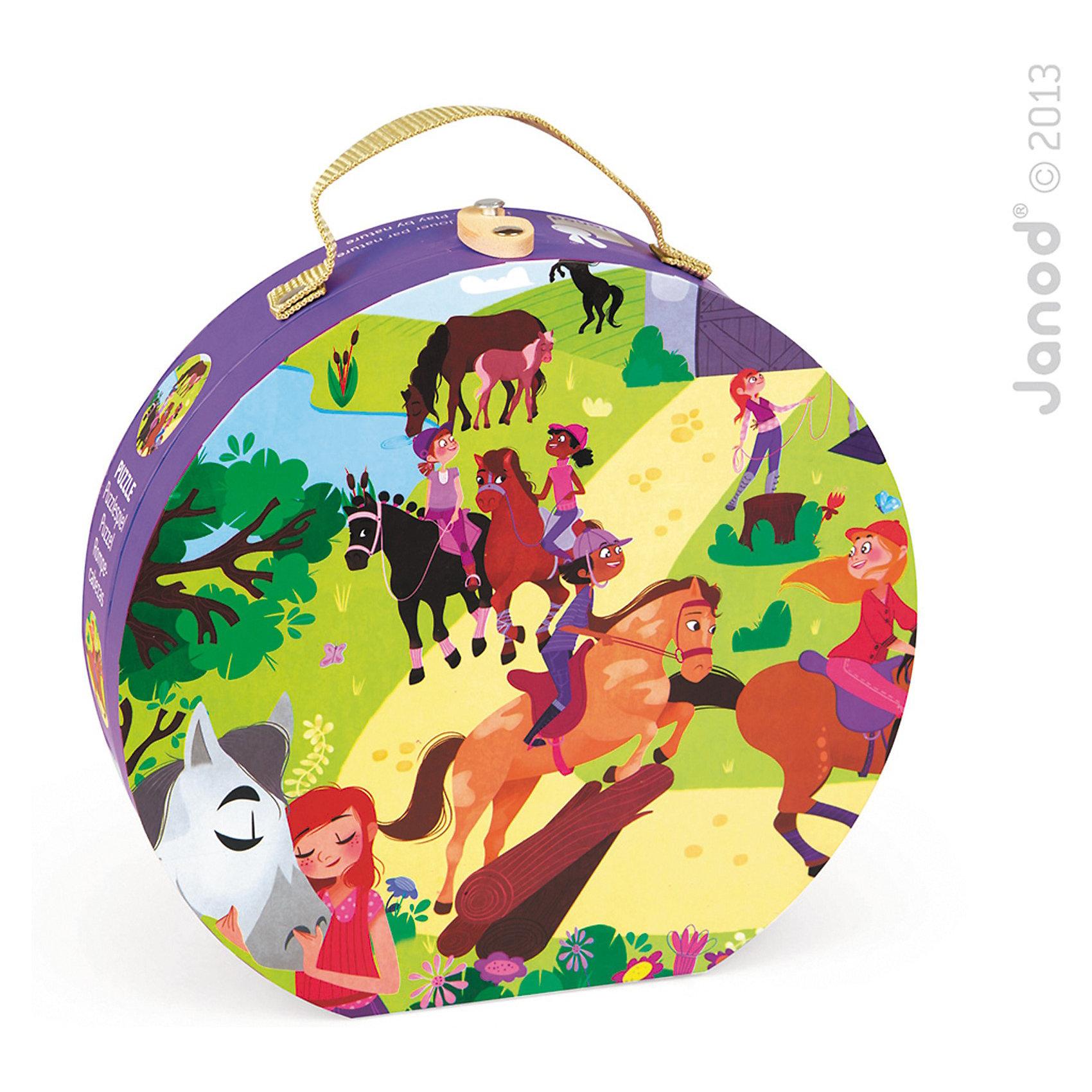 Пазл в круглом чемоданчике Лошадки, 100 деталей, JanodСобирать разные изображения из деталей - любимое занятие многих детей. Пазлы - отличный способ развивать способности ребенка в игровой форме. Эта игра очень удобна - ее можно брать с собой в дорогу, благодаря продуманной форме хранится она очень компактно. Она развивает также мелкую моторику, воображение, логическое мышление, цветовосприятие. Такая игра надолго занимает детей и помогает увлекательно провести время!<br>Пазл в круглом чемоданчике Лошадки состоит из ста деталей, которые складываются в картинку с наездниками и лошадями. Пазл упакован в закрывающийся чемоданчик с ручкой, который очень удобно носить с собой. Игра разработана опытными специалистами, сделана из высококачественных материалов, безопасных для детей.<br><br>Дополнительная информация:<br><br>материал: картон;<br>размер пазла: 50  х40 см;<br>размер упаковки: 25 х 24 х 7 см;<br>вес: 998 г;<br>качественная полиграфия;<br>комплектация: круглый чемодан; 100 элементов.<br><br>Пазл в круглом чемоданчике Лошадки, 100 деталей, от компании Janod можно купить в нашем магазине.<br><br>Ширина мм: 254<br>Глубина мм: 249<br>Высота мм: 88<br>Вес г: 757<br>Возраст от месяцев: 72<br>Возраст до месяцев: 96<br>Пол: Женский<br>Возраст: Детский<br>Количество деталей: 100<br>SKU: 3635550