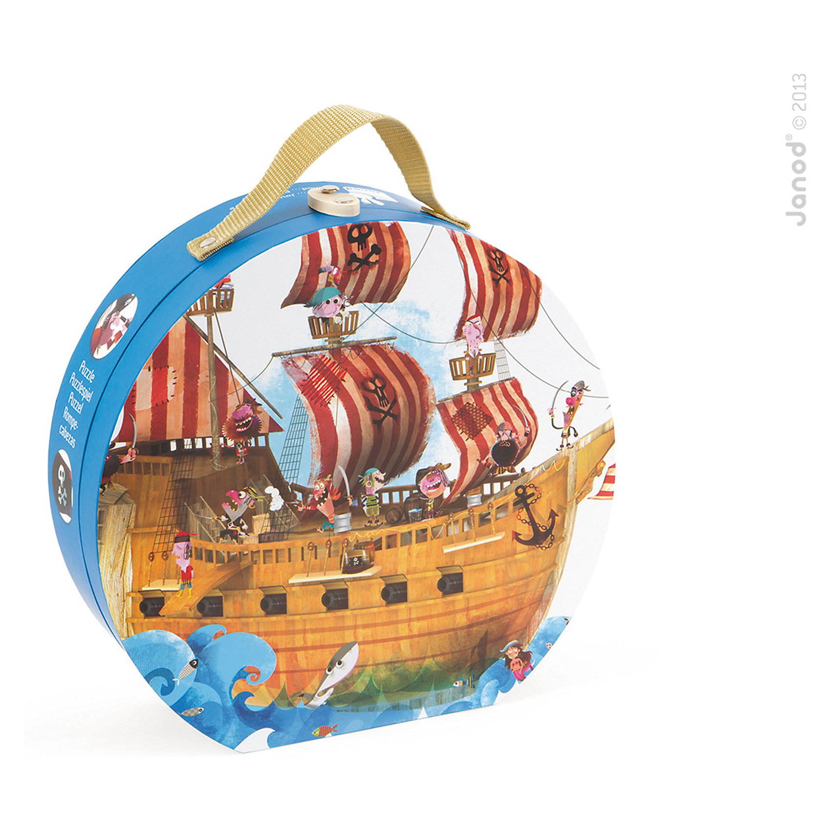 Пазл в круглом чемоданчике Пиратский корабль, 39 деталей,  JanodПазлы - отличный способ развивать способности ребенка в игровой форме. Собирать разные изображения из деталей - любимое занятие многих детей. Эта игра очень удобна - ее можно брать с собой в дорогу, благодаря продуманной форме хранится она очень компактно. Она развивает также мелкую моторику, воображение, логическое мышление, цветовосприятие. Такая игра надолго занимает детей и помогает увлекательно провести время!<br>Пазл в круглом чемоданчике Пиратский корабль состоит из 39 деталей, которые складываются в картинку с пиратами. Пазл упакован в закрывающийся чемоданчик с ручкой, который очень удобно носить с собой. Игра разработана опытными специалистами, сделана из высококачественных материалов, безопасных для детей.<br><br>Дополнительная информация:<br><br>материал: картон;<br>размер пазла: 106 х 85,5 см;<br>размер упаковки: 28х 27 х 9 см;<br>качественная полиграфия;<br>комплектация: круглый чемодан; 39 элементов.<br><br>Пазл в круглом чемоданчике Пиратский корабль, 39 деталей,  от компании Janod можно купить в нашем магазине.<br><br>Ширина мм: 290<br>Глубина мм: 283<br>Высота мм: 114<br>Вес г: 1193<br>Возраст от месяцев: 48<br>Возраст до месяцев: 84<br>Пол: Унисекс<br>Возраст: Детский<br>Количество деталей: 39<br>SKU: 3635552