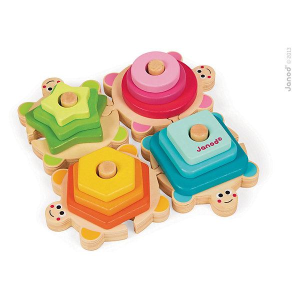 Сортер-пирамидка Черепашки, JanodДеревянные игрушки<br>Сортер - отличный способ развивать творческие способности ребенка в игровой форме. Эта игра очень удобна - ее можно брать с собой в дорогу, благодаря продуманной форме хранится она очень компактно. Она развивает также мелкую моторику, художественный вкус, воображение, логическое мышление, цветовосприятие. Такая игра надолго занимает детей и помогает увлекательно провести время!<br>Сортер-пирамидка сделан в виде четырех черепашек, к которым прилагаются детали разных форм и цветов, благодаря чему малыш будет учиться узнавать фигуры и сочетать их между собой. Игра разработана опытными специалистами, сделана из высококачественных материалов, безопасных для детей.<br><br>Дополнительная информация:<br><br>материал: дерево;<br>размер: 20,5 х 20,5 х 5 см.<br><br>Сортер-пирамидку Черепашки от компании Janod можно купить в нашем магазине.<br><br>Ширина мм: 256<br>Глубина мм: 238<br>Высота мм: 55<br>Вес г: 607<br>Возраст от месяцев: 18<br>Возраст до месяцев: 48<br>Пол: Унисекс<br>Возраст: Детский<br>SKU: 3635563