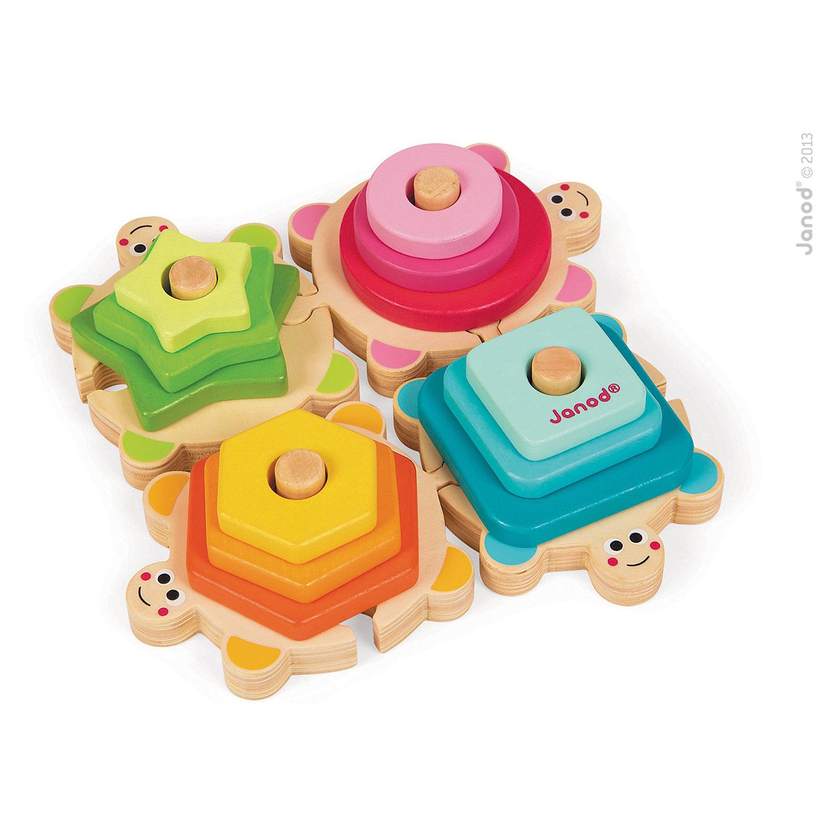 Сортер-пирамидка Черепашки, JanodПирамидки<br>Сортер - отличный способ развивать творческие способности ребенка в игровой форме. Эта игра очень удобна - ее можно брать с собой в дорогу, благодаря продуманной форме хранится она очень компактно. Она развивает также мелкую моторику, художественный вкус, воображение, логическое мышление, цветовосприятие. Такая игра надолго занимает детей и помогает увлекательно провести время!<br>Сортер-пирамидка сделан в виде четырех черепашек, к которым прилагаются детали разных форм и цветов, благодаря чему малыш будет учиться узнавать фигуры и сочетать их между собой. Игра разработана опытными специалистами, сделана из высококачественных материалов, безопасных для детей.<br><br>Дополнительная информация:<br><br>материал: дерево;<br>размер: 20,5 х 20,5 х 5 см.<br><br>Сортер-пирамидку Черепашки от компании Janod можно купить в нашем магазине.<br><br>Ширина мм: 256<br>Глубина мм: 238<br>Высота мм: 55<br>Вес г: 607<br>Возраст от месяцев: 18<br>Возраст до месяцев: 48<br>Пол: Унисекс<br>Возраст: Детский<br>SKU: 3635563