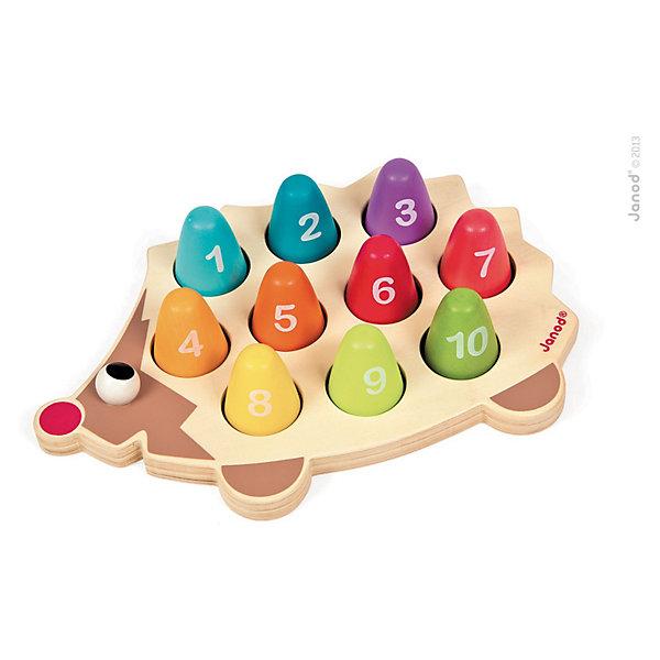 Сортер Ежик, JanodДеревянные игрушки<br>Сортер - отличный способ развивать творческие способности ребенка в игровой форме. Эта игра очень удобна - ее можно брать с собой в дорогу, благодаря продуманной форме хранится она очень компактно. Она развивает также мелкую моторику, художественный вкус, воображение, логическое мышление, цветовосприятие. Такая игра надолго занимает детей и помогает увлекательно провести время!<br>Сортер сделан в виде ежика, к которому прилагаются детали разных  цветов с цифрами, благодаря чему малыш будет учиться узнавать числа и цвета. Игра разработана опытными специалистами, сделана из высококачественных материалов, безопасных для детей.<br><br>Дополнительная информация:<br><br>материал: дерево;<br>размер: 25 х 17,5 х 5 см.<br><br>Сортер Ежик от компании Janod можно купить в нашем магазине.<br><br>Ширина мм: 299<br>Глубина мм: 203<br>Высота мм: 60<br>Вес г: 490<br>Возраст от месяцев: 18<br>Возраст до месяцев: 48<br>Пол: Унисекс<br>Возраст: Детский<br>SKU: 3635564