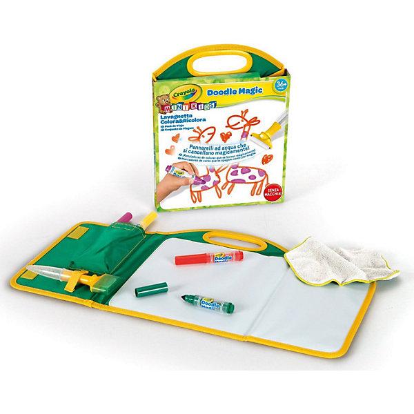 Дорожный набор Doodle magic, CrayolaНаборы для раскрашивания<br>Детский дорожный набор для рисования Doodle Magic всегда удобно брать с собой.  Он имеет удобные для переноски размеры, но при этом включает все необходимое для рисования. <br>Уникальность маркеров Doodle Magic в том, что рисунки, сделанные с их помощью, можно удалить с любой поверхности  обычной водой. Даже с одежды. А тряпочка и губка, которые тоже входят в набор, заметно облегчат эту задачу. В коробке с набором вы найдете 3 маркера Doodle Magic, а также полотно для рисования. Оно идеально подойдет для рисования и заменит обычную бумагу. Причем использовать эту поверхность можно бесконечное число раз. <br>Рекомендуется для детей от 3 лет.<br><br>Ширина мм: 284<br>Глубина мм: 225<br>Высота мм: 35<br>Вес г: 296<br>Возраст от месяцев: 36<br>Возраст до месяцев: 72<br>Пол: Унисекс<br>Возраст: Детский<br>SKU: 3638595