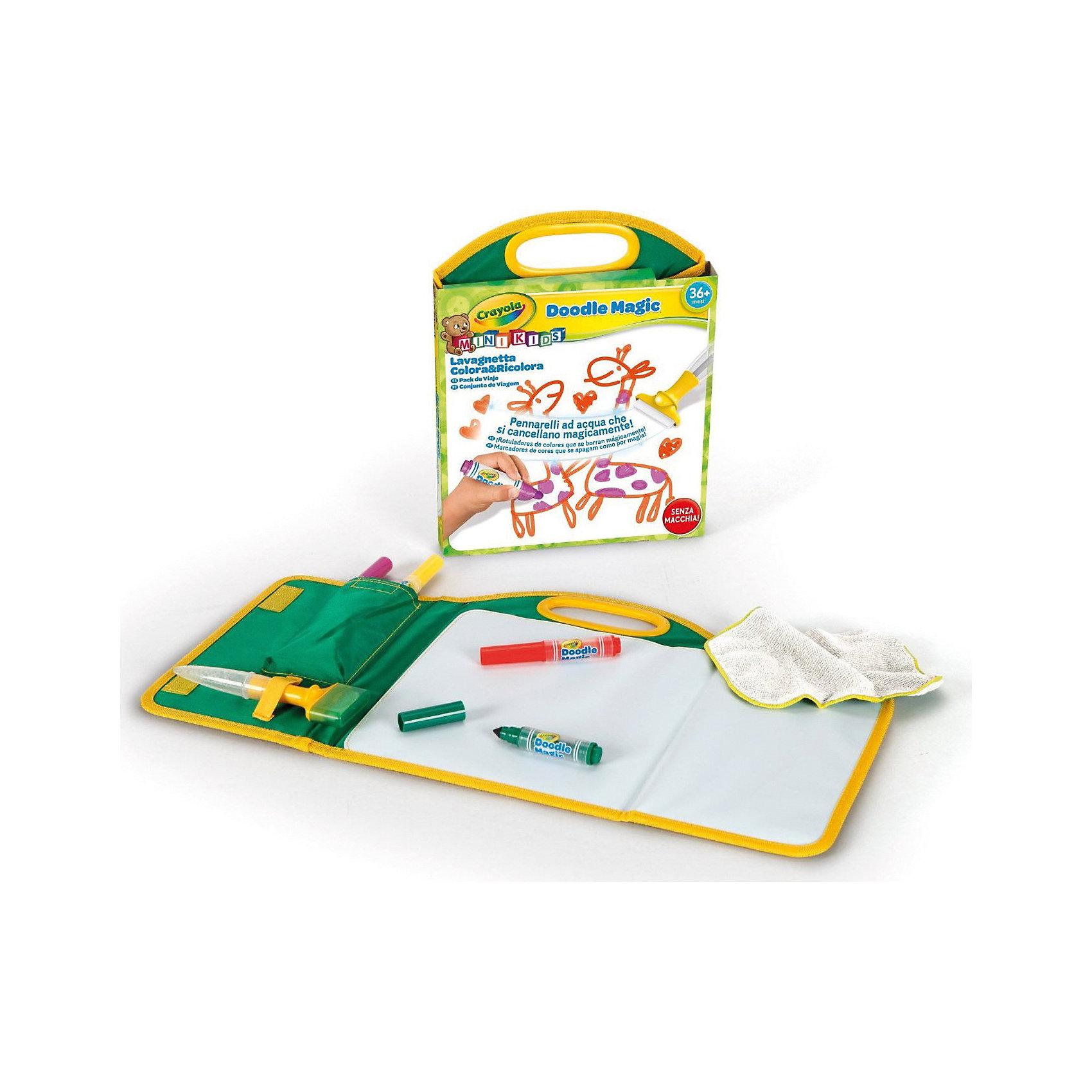 Дорожный набор Doodle magic, CrayolaРисование<br>Детский дорожный набор для рисования Doodle Magic всегда удобно брать с собой.  Он имеет удобные для переноски размеры, но при этом включает все необходимое для рисования. <br>Уникальность маркеров Doodle Magic в том, что рисунки, сделанные с их помощью, можно удалить с любой поверхности  обычной водой. Даже с одежды. А тряпочка и губка, которые тоже входят в набор, заметно облегчат эту задачу. В коробке с набором вы найдете 3 маркера Doodle Magic, а также полотно для рисования. Оно идеально подойдет для рисования и заменит обычную бумагу. Причем использовать эту поверхность можно бесконечное число раз. <br>Рекомендуется для детей от 3 лет.<br><br>Ширина мм: 284<br>Глубина мм: 225<br>Высота мм: 35<br>Вес г: 296<br>Возраст от месяцев: 36<br>Возраст до месяцев: 72<br>Пол: Унисекс<br>Возраст: Детский<br>SKU: 3638595