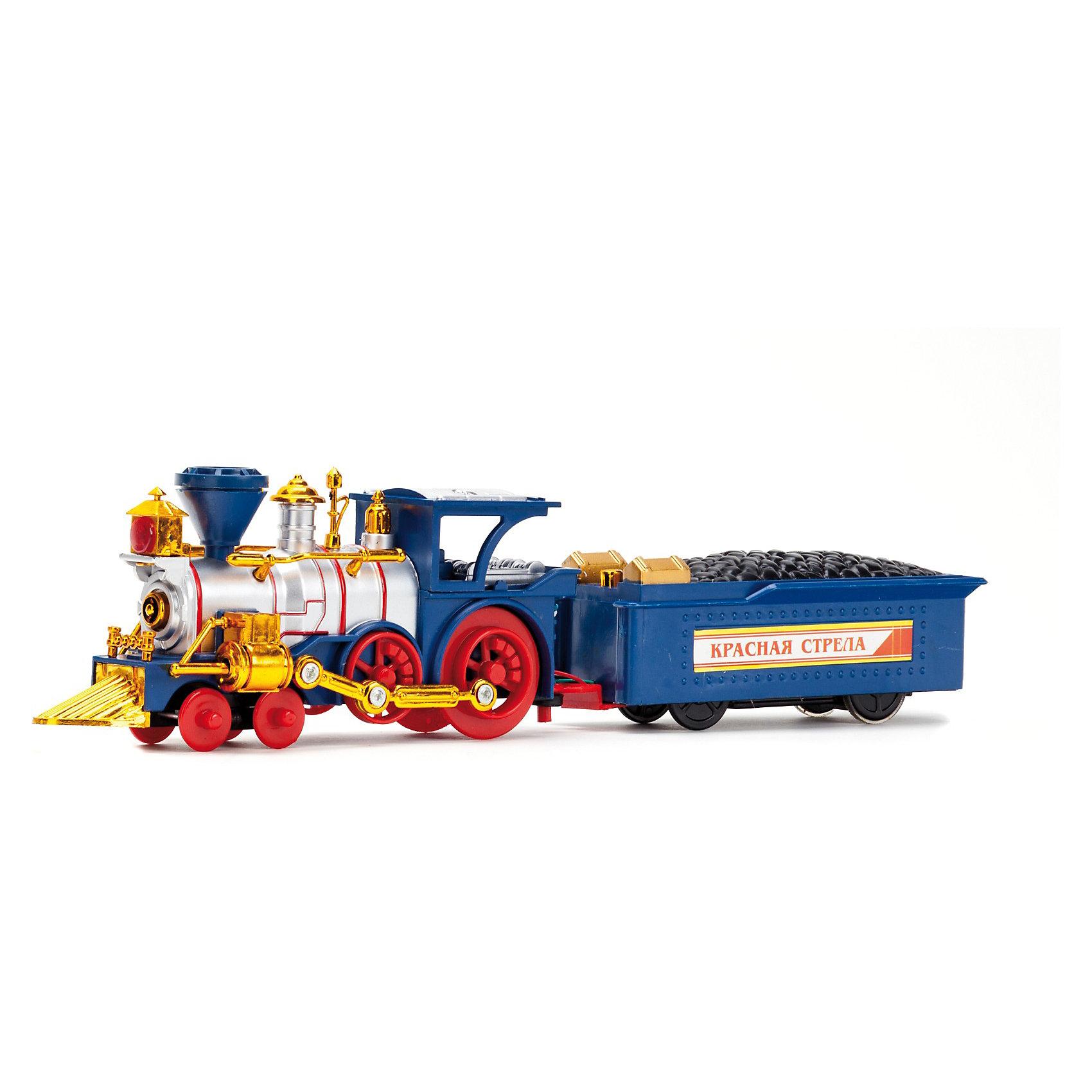 Железная дорога Красная стрела, на р/у, со светом и звуком,  Играем вместеИгрушечная железная дорога<br>Железная дорога Красная Стрела на радиоуправлении - замечательный подарок, который вызовет восторг у любого ребенка. Поезд управляется с помощью пульта, может двигаться вперед-назад, скорость движения регулируется.<br><br>В составе поезда старинный паровоз, украшенный хромированными деталями и три вагона - два пассажирский и один грузовой с углем. Игрушка оснащена световыми и звуковыми эффектами: поезд мигает прожекторами, паровоз пускает дым и издает реалистичные звуки. Имеется автоматическая сцепка вагонов. В комплекте множество аксессуаров, которые помогут воссоздать инфраструктуру настоящей железной дороги: станция, деревья, элементы дорожного полотна и много другое.<br><br>Дополнительная информация:<br><br>- В комплекте: пульт управления, локомотив, вагон с углём, элементы дорожного полотна, пассажирские вагоны, деревья.<br>- Материал: пластик, металл.<br>- Требуются батарейки: 6 х АА (в комплект не входят).<br>- Длина железнодорожного полотна: 266 см.<br>- Размер упаковки: 52 х 32 х 7,5 см.<br>- Вес: 1,2 кг.<br><br> Железную дорогу Красная стрела, на р/у, Играем вместе можно купить в нашем интернет-магазине.<br><br>Ширина мм: 320<br>Глубина мм: 70<br>Высота мм: 530<br>Вес г: 1230<br>Возраст от месяцев: 48<br>Возраст до месяцев: 120<br>Пол: Мужской<br>Возраст: Детский<br>SKU: 3644049