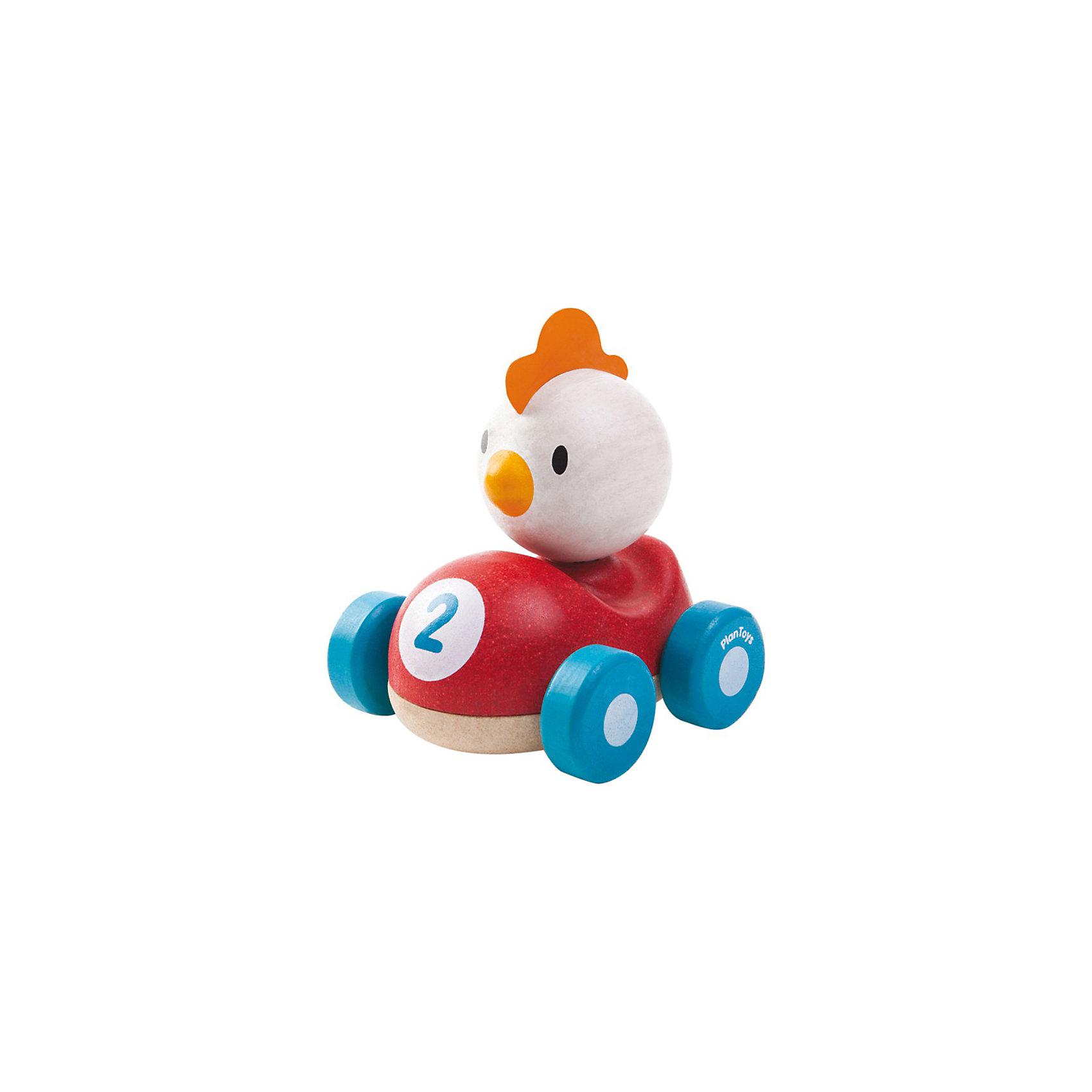 Курочка, Plan ToysДеревянная машинка Курочка – яркая забавная игрушка для малыша, с которой он сможет устраивать настоящие скоростные гонки. <br><br>Миниатюрные машинки всегда были и остаются одними из самых любимых игрушек не только мальчиков, но и девочек. Красочная машинка из дерева с забавной курочкой понравится каждому малышу. Деревянная гоночная машинка с белой курочкой выполнена в красном цвете с синими колесами. <br><br>Игрушка изготовлена из высококачественного каучукового дерева с использованием нетоксичных красок и обработанными краями, что абсолютно исключает вероятность травмирования. <br><br>Деревянные игрушки Plan Toys (План Тойс) развивают у ребенка моторику, логику и пространственное мышление, зрительное восприятие и внимание малыша.<br><br>Дополнительная информация:<br><br>Материал: каучуковое дерево<br>Размер: 9.1 x 8.8 x 10 см<br><br>Курочку, Plan Toys (План Тойс) можно купить в нашем магазине.<br><br>Ширина мм: 117<br>Глубина мм: 101<br>Высота мм: 99<br>Вес г: 256<br>Возраст от месяцев: 12<br>Возраст до месяцев: 36<br>Пол: Унисекс<br>Возраст: Детский<br>SKU: 3648148