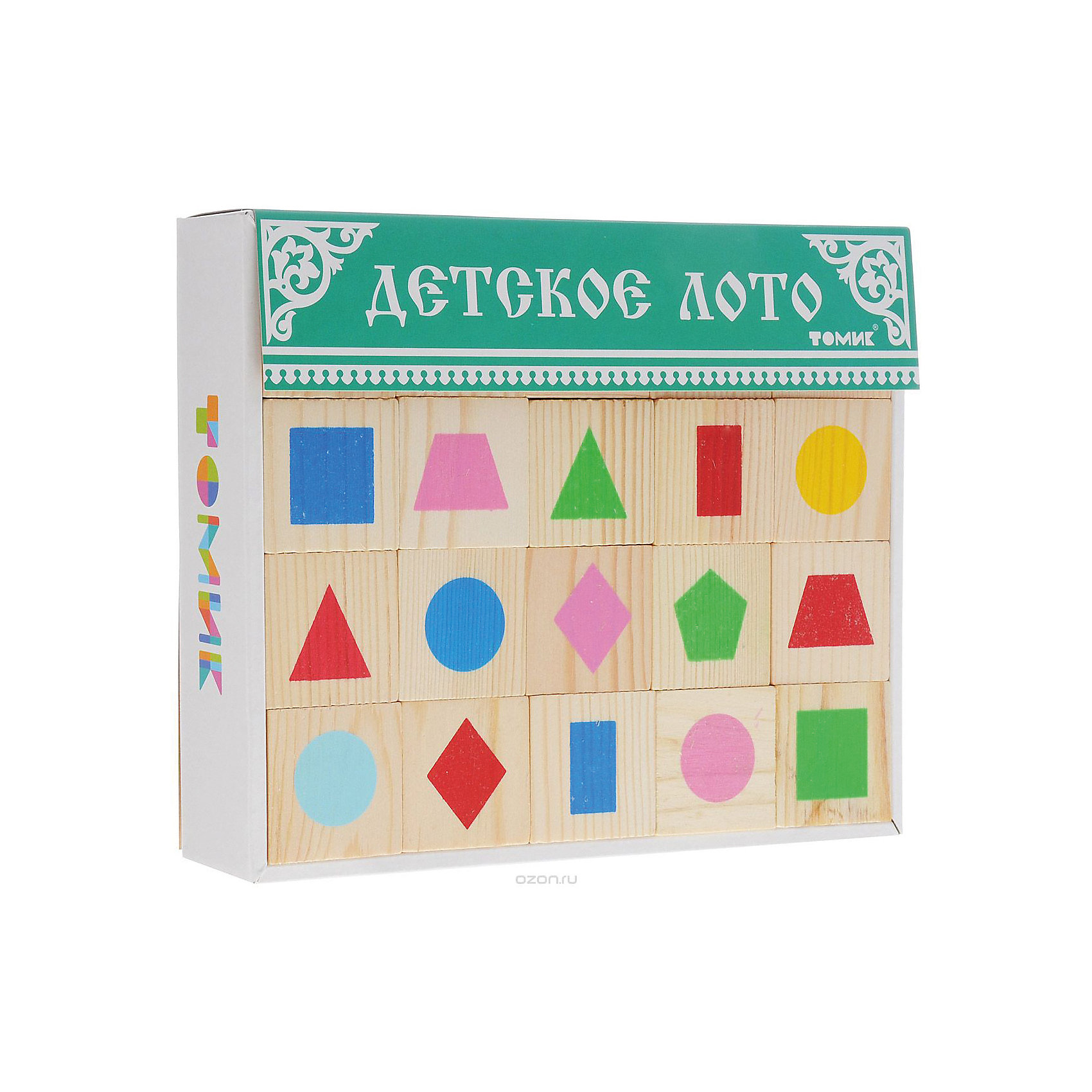 Лото Геометрические фигуры, ТомикЛото Геометрические фигуры, Томик - это увлекательная развивающая игра для детей.<br>Классическое лото, которое предполагает знание чисел в пределах сотни, затрудняет игру для малышей. Специально для них существует детское лото, где вместо бочонков с числами используются фишки с картинками — геометрическими фигурами, животными, игрушками. <br>В набор лото Геометрические фигуры входит 6 карточек и 48 фишек с изображением геометрических фигур разного цвета: круг, квадрат, ромб, прямоугольник, овал, треугольник, трапеция, пятиугольник. В игре могут участвовать от 2 до 6 человек. Правила игры просты — карточки распределяются между игроками, а фишки по одной достаются ведущим из мешочка и игрок, у которого на карточке есть такая же картинка, как на фишке, забирает фишку себе и закрывает ей соответствующую картинку на карточке. Тот, кто первым закрыл на своих карточках все картинки, становится победителем. Однако до того, как начать играть по-настоящему, рассмотрите фишки, назовите нарисованные на них фигуры, их цвет. Рассортируйте их вместе сначала по цвету, а потом по форме. Затем пусть малыш сделает это самостоятельно. Потом дайте ребенку карточку. Дайте ему фишку с фигурой и попросите найти такую же фигуру на карточке и закрыть ее фишкой. Когда малыш освоит сам принцип игры – лото, можно играть вдвоем или втроем. После того, как в своей традиционной форме игра будет освоена, ее можно усложнить, не показывая фишку, а подробно характеризуя изображение: У этой фигуры три угла. Она красного цвета - пусть малыш учится работать с вербальной информацией, постепенно запоминает и дает правильные названия. Играя в лото Геометрические фигуры ребенок сможет легко запомнить как простые, так и более сложные геометрические фигуры. Как и вся продукция «Томик», детали лото сделаны из чистого дерева и сертифицированы для малышей, а нанесённые шелкографией рисунки долговечны и надёжны.<br><br>Дополнительная информация:<br><br>- В наборе: 48 деревянных фи