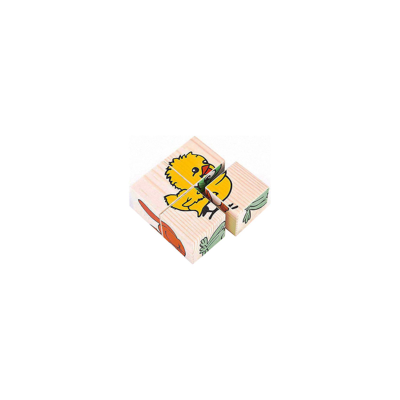Кубики Животные, 4 штуки, ТомикДеревянные игры и пазлы<br>Кубики Животные, 4 штуки, Томик - это одна из самых популярных и необходимых игрушек для малыша.<br>Кубики Животные из серии Сложи рисунок позволят малышу собрать шесть картинок с изображением животных: поросенка, кошечки, зайчика, лягушки, цыпленка, уточки. В комплект входят: 4 кубика и 6 картинок с образцами сборки. Положите картинку-образец на дно коробочки и вместе с ребенком ищите нужный кубик, затем укладывайте его на образец. Первые картинки выкладывайте вместе с ребенком, затем он уже будет делать это самостоятельно. Играя вместе с ребенком, вы познакомите его с животными, изображенными на кубиках: как они называются, что они едят, где живут, как они говорят. Прочитайте или расскажите ребенку сказку про этих животных. Удобные по размеру грани кубика (4 см) позволяют играть в них даже самым маленьким. Кроме того, кубики можно запросто использовать как конструктор — строить домики, башни и крепости — фантазия ребенка не будет ограничена ничем. Игра с кубиками развивает зрительное восприятие, наблюдательность и внимание, мелкую моторику рук. Ребенок научится складывать целостный образ из частей, определять детали изображения. Красочные кубики изготовлены из древесины хвойных пород. Рисунки нанесены методом шелкографии. Изображения очень износоустойчивые. Материалы экологически чистые и имеют гигиенические заключения, разрешающие изготовление из них детских игрушек.<br><br>Дополнительная информация:<br><br>- Количество кубиков: 4<br>- Размер кубика: 4 х 4 х 4 см.<br>- Размер упаковки: 9 х 9 х 4 см.<br>- Вес: 0,175 кг.<br>- Упаковка: картонная коробка без крышки<br><br>Кубики Животные, 4 штуки, Томик можно купить в нашем интернет-магазине.<br><br>Ширина мм: 90<br>Глубина мм: 90<br>Высота мм: 40<br>Вес г: 180<br>Возраст от месяцев: 24<br>Возраст до месяцев: 60<br>Пол: Унисекс<br>Возраст: Детский<br>SKU: 3650278