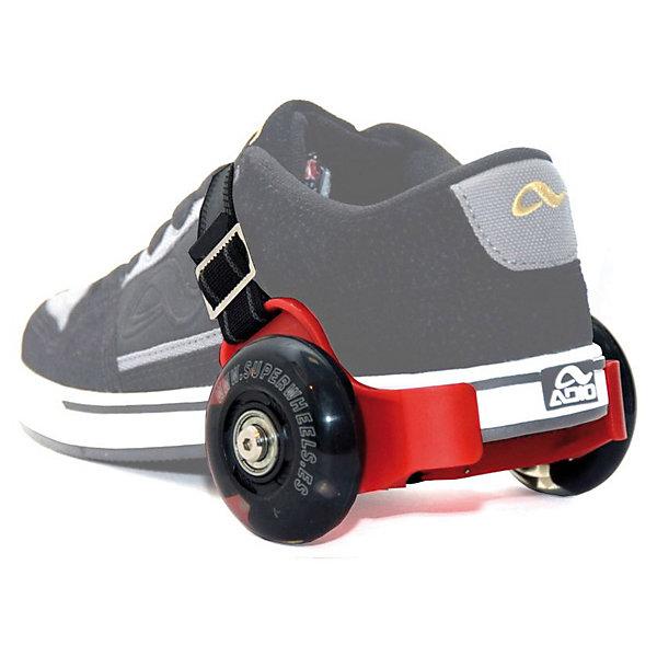 Ролики для обуви, SuperWheels, красныеРолики<br>Ролики для обуви SuperWheels (Супервилс) - сенсация в активном отдыхе и экстремальном спорте!<br>Эти ролики являются новейшим средством передвижения. Вы сможете заходить в них в места, куда обычно на роликах заходить запрещено: метро, магазины, кафе. Просто отрегулируйте Супервилс под нужный размер обуви и наслаждайтесь катанием. Чтобы начать движение, Вам достаточно просто поднять вверх мыски ваших стоп, а для того, что бы остановиться, просто опустить их. Конечно, для начала, Вам необходимо приноровиться и поймать равновесие. Но после небольшой тренировки Вы с легкостью покатитесь так, как будто занимались этим всю жизнь. Особый эффект от катания на SuperWheels (Супервилс) виден в темное время суток. Дело в том, что в колеса роликов встроены светодиоды, которые за счет динамо-машины начинают светиться, как только Вы начинаете ехать. Мини-ролики SuperWheels (Супервилс) одеваются на пятку, подходят под любую обувь, при этом очень компактны и прочны!<br><br>Дополнительная информация:<br><br>- Просты в использовании и подходят к любому размеру обуви;<br>- Имеют компактный размер, что позволяет брать их с собой куда угодно;<br>- Чрезвычайно прочная конструкция мини-роликов супервилс обеспечивает очень долгий срок службы и повышенную ударо и износостойкость;<br>- Встроенные в колеса роликов светодиодные элементы не требуют батареек и работают только от энергии Вашего движения;<br>- Размер упаковки: 19 х 10 х 12 см;<br>- Ролик  70 x 24мм с 3-мя пьезолампочками.<br>- Материал ролика -полиуретан<br>- Пластины жесткости из нержавеющей стали<br>- Нагрузка до 60 кг. <br>- Установка под размер обуви с помощью шестигранного ключа<br>- Цвет: красный;<br>- Вес: 900 г<br><br>Ролики для обуви, SuperWheels (Супервилс), красные можно купить в нашем интернет-магазине.<br><br>Ширина мм: 190<br>Глубина мм: 100<br>Высота мм: 120<br>Вес г: 900<br>Возраст от месяцев: 96<br>Возраст до месяцев: 2147483647<br>Пол: Унисекс<br>Возраст: Детский<br>