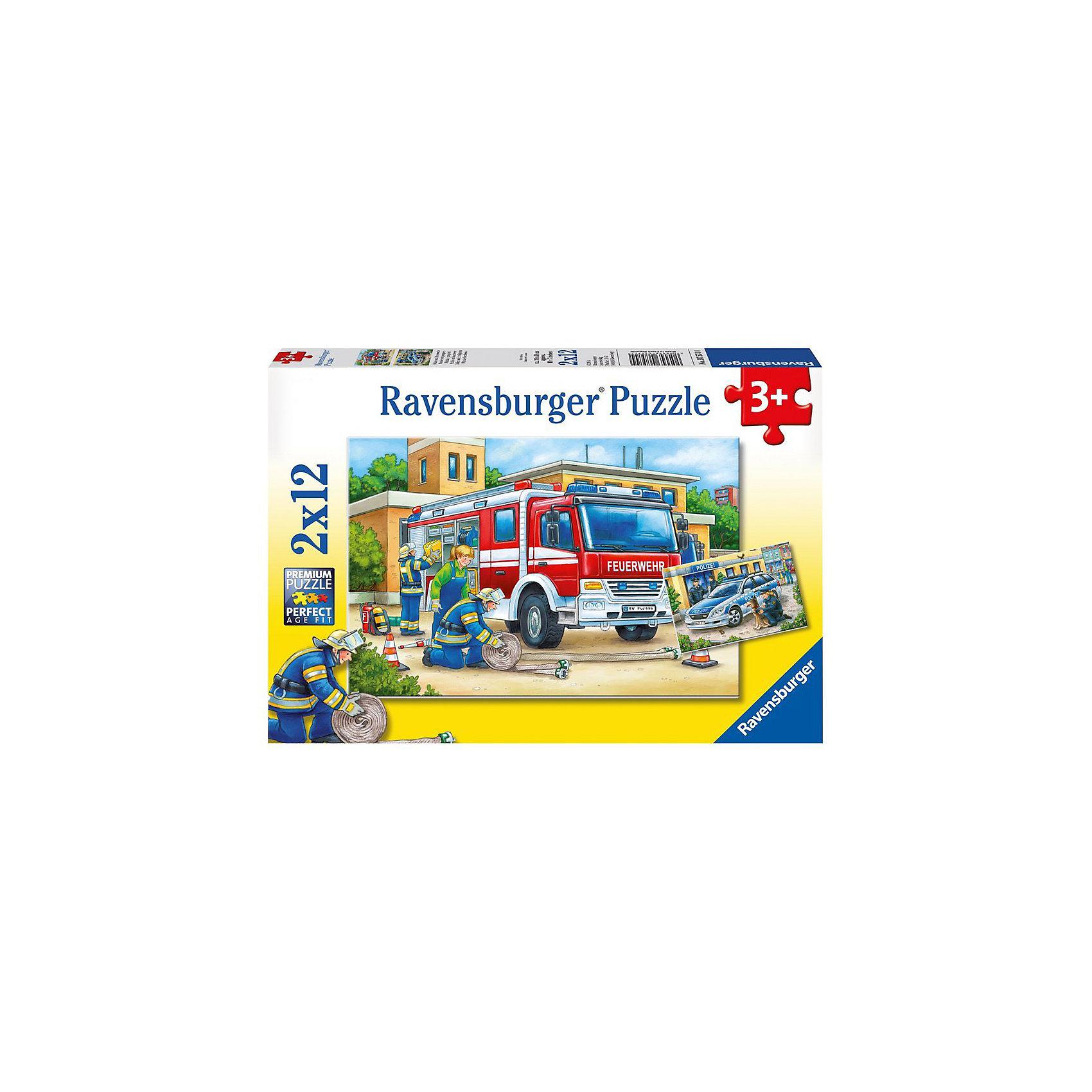 Пазл «Полицейские и пожарные», 2х12 деталей, RavensburgerПазлы для малышей<br>Пазл «Полицейские и пожарные», 2х12 деталей, Ravensburger (Равенсбургер).<br><br>Характеристика:<br><br>• Материал: картон.<br>• Размер упаковки: 19х28х4 см. <br>• Размер готовой картинки: 19х26 см. <br>• Количество деталей: 24 (2 пазла по 12 деталей).<br><br>В этом наборе целых два пазла, собрав которые ты узнаешь, чем занимаются полицейские и пожарные. Яркая красочная картинка станет отличным украшением детской или же замечательным подарком, сделанным своими руками. Собирание пазлов - увлекательное и полезное занятие, развивающее моторику рук, внимание, усидчивость и образное мышление. <br><br>Пазл «Полицейские и пожарные», 2х12 деталей, Ravensburger (Равенсбургер) можно купить в нашем интернет-магазине.<br><br>Ширина мм: 279<br>Глубина мм: 193<br>Высота мм: 38<br>Вес г: 280<br>Возраст от месяцев: 36<br>Возраст до месяцев: 60<br>Пол: Мужской<br>Возраст: Детский<br>Количество деталей: 12<br>SKU: 3651508
