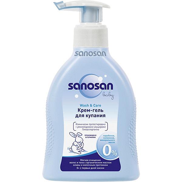 Крем-гель для купания с дозатором, Sanosan, 200 мл.Косметика для малыша<br>Крем-гель для купания с дозатором, Sanosan (Саносан), 200 мл. – это идеальное средство ухода за нежной и чувствительной кожей грудных детей.<br>Крем-гель для купания Sanosan в удобном флаконе с дозатором содержит особо мягкие моющие ингредиенты растительного происхождения, очищающие нежную детскую кожу бережнее любого мыла. Пригоден для ежедневного мытья, даже для очень чувствительной кожи. Рекомендуется при проявлениях аллергии и атопической сухости кожи. Оливковое масло и молочный протеин активно питают кожу. Пантенол успокаивает чувствительную кожу и устраняет покраснения. Не щиплет глазки, клинически протестирован, не содержит парафинового масла и красителей. Рекомендован педиатрами. Подходит для детей с первых дней жизни. Имеет формулу защиты глаз. Гипоаллергенно.<br><br>Дополнительная информация:<br><br>- Флакон 200 мл с дозатором<br>- Состав: вода, кокамидопропила бетаин, кокоглюкозид, натрия кокоамфоацетат, глицерила олеат, глицерин, натрия хлорид, акрилатный кополимер, гликоль дистеарат, пантенол, феноксиэтанол, отдушка, молочная кислота, лимонная кислота, поликватерниум - 7, глицерил стеарат, гидролизованный молочный протеин, метилпарабен, этилпарабен, бутилпарабен пропилпарабен, изобутилпарабен, бензойная кислота, оливковое масло, бензоат натрия<br><br>Крем-гель для купания с дозатором, Sanosan (Саносан), 200 мл. можно купить в нашем интернет-магазине.<br><br>Ширина мм: 34<br>Глубина мм: 90<br>Высота мм: 176<br>Вес г: 250<br>Возраст от месяцев: 0<br>Возраст до месяцев: 60<br>Пол: Унисекс<br>Возраст: Детский<br>SKU: 3658824