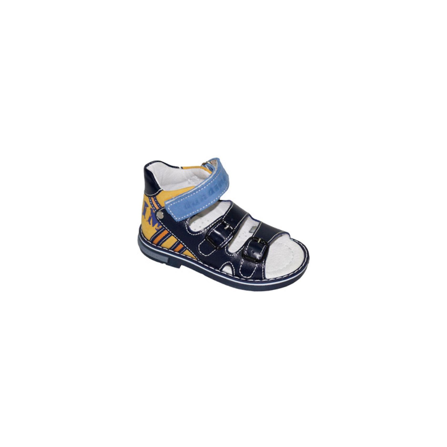 Ортопедические сандалии для мальчика DandinoОртопедические сандалии для мальчика от марки  Dandino.<br>Внутренняя и внешняя поверхность обуви Dandino изготовлена из натуральной кожи, которая пропускает воздух и позволяет ножке ребенка дышать. <br>Ортопедические сандалии имеют следущие особенности:<br>- наличие жесткого задника <br>- стелька с  супинатором Soft effect<br>- специальная антибактериальная стелька<br>- гибкая подошва<br>Всё это помогает  сформировать правильную постановку ступни вашего ребёнка, что будет препятствовать развитию плоскостопия и косолапия. <br>Благодаря углублениям в обуви, устраняется дополнительная нагрузка на пальцы ребёнка, а широкий носок обеспечивает их свободное движение.<br>Данная модель имеет две удобные застежки-липучки, которые позволяют быстро снимать и надевать обувь, а также отрегулировать сандалии по ноге.<br>Состав:<br>Материал верха: натуральная кожа 100%; Материал подкладки: натуральная кожа 100%; Материал подошвы: Термопластик 100%<br><br>Ширина мм: 219<br>Глубина мм: 154<br>Высота мм: 121<br>Вес г: 343<br>Цвет: синий<br>Возраст от месяцев: 60<br>Возраст до месяцев: 72<br>Пол: Мужской<br>Возраст: Детский<br>Размер: 29,28,26,27,30<br>SKU: 3660875
