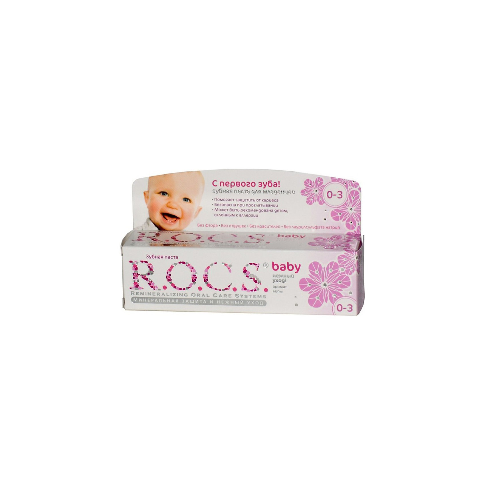 Зубная паста для малышей с ароматом липы, R.O.C.S., 45 гЗубные пасты<br>Зубная паста для малышей с ароматом липы, R.O.C.S.  (РОКС) предназначена для ухода за зубами малышей, начиная с самого раннего возраста. Формула этой зубной пасты практически полностью построена на БИО-компонентах растительного происхождения, активность которых сохраняется благодаря низкотемпературной технологии приготовления продукта, что делает их максимально эффективными, а также безопасными при проглатывании. Благодаря высокой концентрации ксилита обеспечивает высокую степень защиты от кариеса, а также обладает свойствами пребиотика, нормализуя состав микрофлоры полости рта. Экстракт липы помогает снизить воспаление десен и уменьшить дискомфорт во время прорезывания зубов.<br><br>Дополнительная информация:<br><br>- Укрепляет зубы;<br>- Защищает от кариеса;<br>- Защищает десну от воспаления;<br>- В состав входит ксилит и экстракт липы, которые оказывают противовоспалительное действие и защищают от кариеса хрупкие молочные зубы;<br>- Способствует нормализации микробного баланса в полости рта;<br>- Благодаря противомикробным свойствам экстрактов данный продукт не требует применения сильных консервантов и особых условий хранения;<br>- Гипоаллергенна;<br>- Безопасна при проглатывании;<br>- Не содержит: фтора, парабенов, лаурилсульфата натрия, красителей, антисептиков и отдушки;<br>- Вес: 45 г<br><br>Зубную пасту для малышей с ароматом липы, R.O.C.S. (РОКС), 45 г можно купить в нашем интернет-магазине.<br><br>Ширина мм: 37<br>Глубина мм: 132<br>Высота мм: 32<br>Вес г: 45<br>Возраст от месяцев: 0<br>Возраст до месяцев: 36<br>Пол: Унисекс<br>Возраст: Детский<br>SKU: 3663449